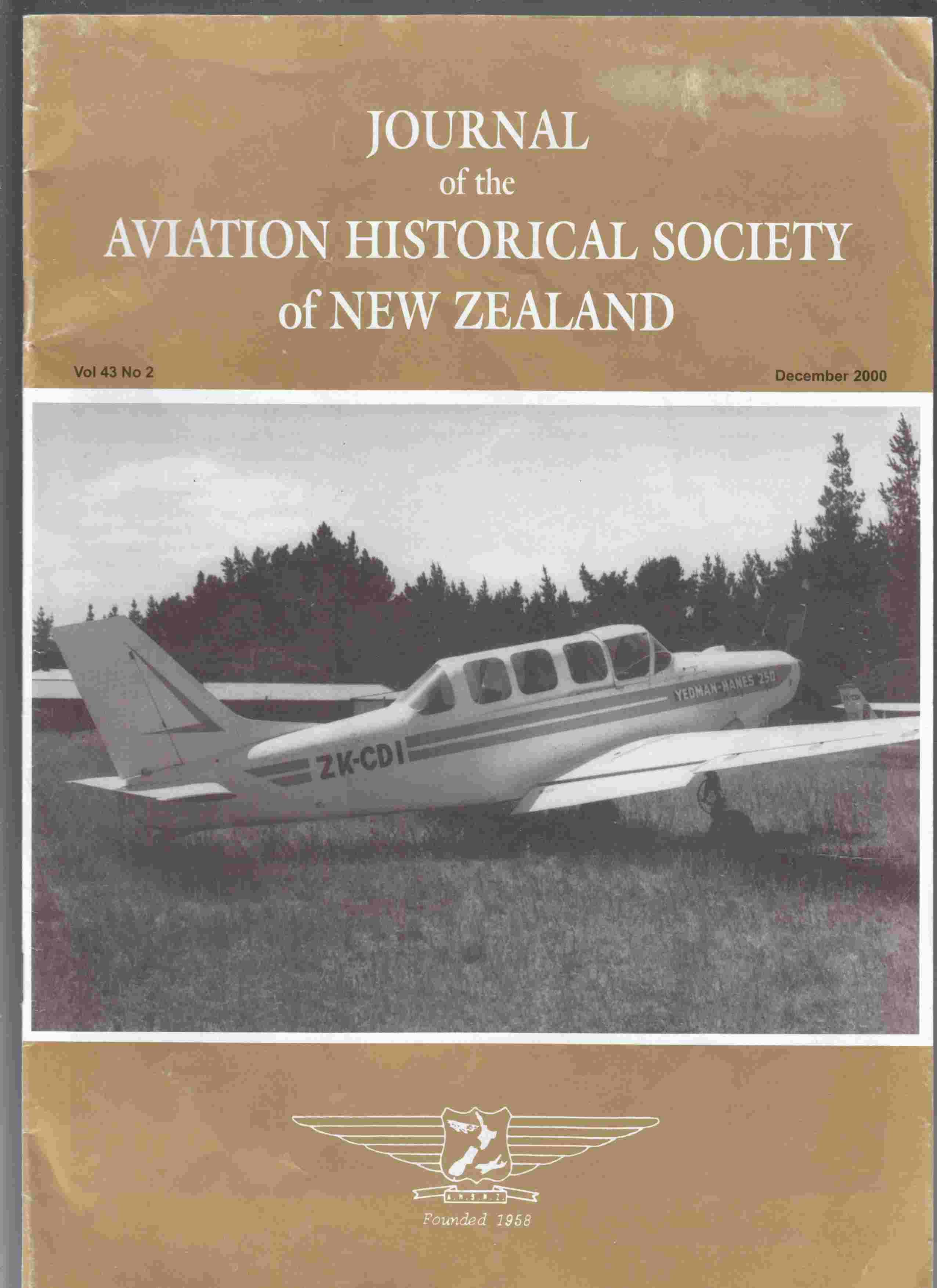 Image for Journal of the Aviation Historical Society of New Zealand Vol 43 No 2 December 2000