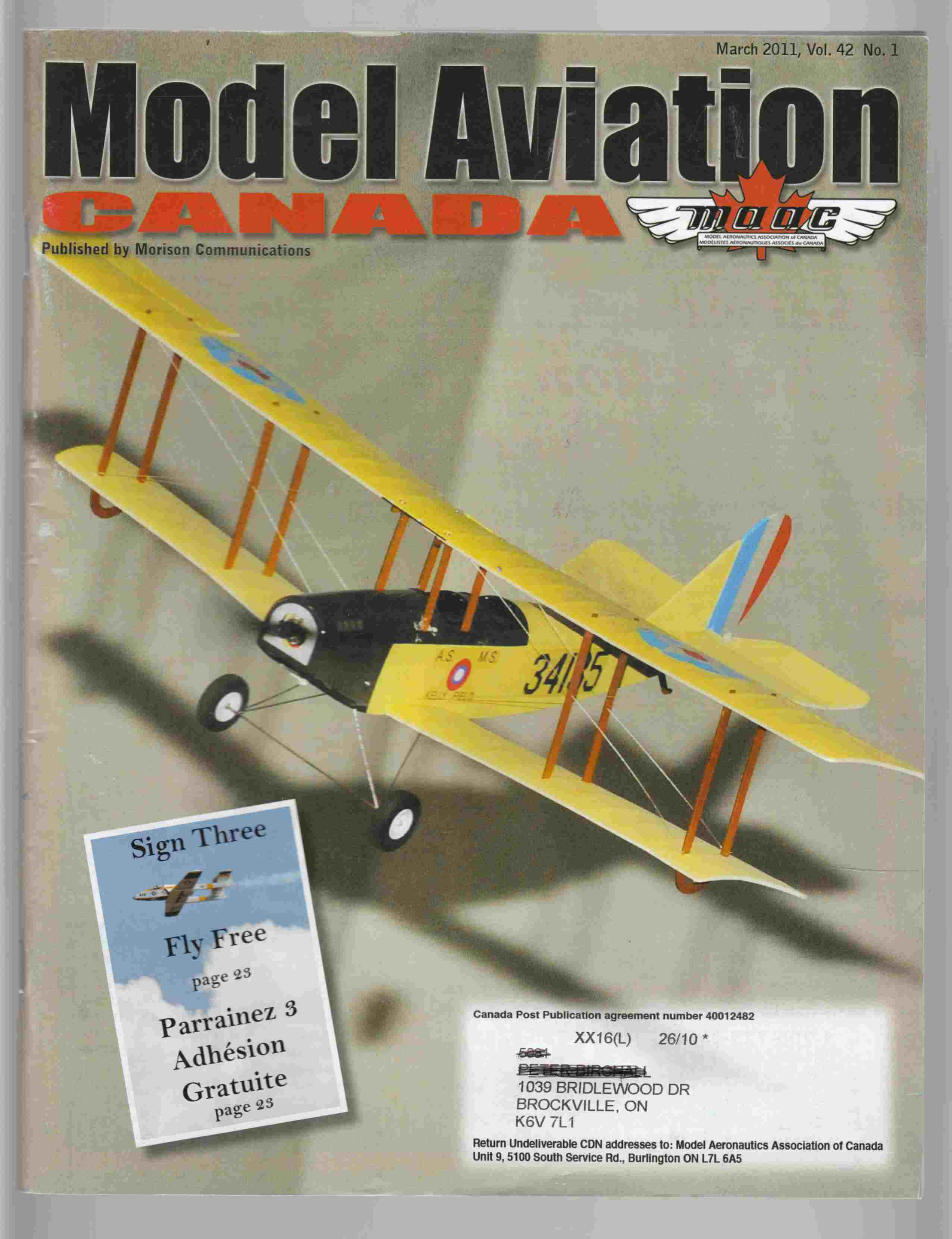 Image for Model Aviation Canada March 2011 Vol. 42 No. 1