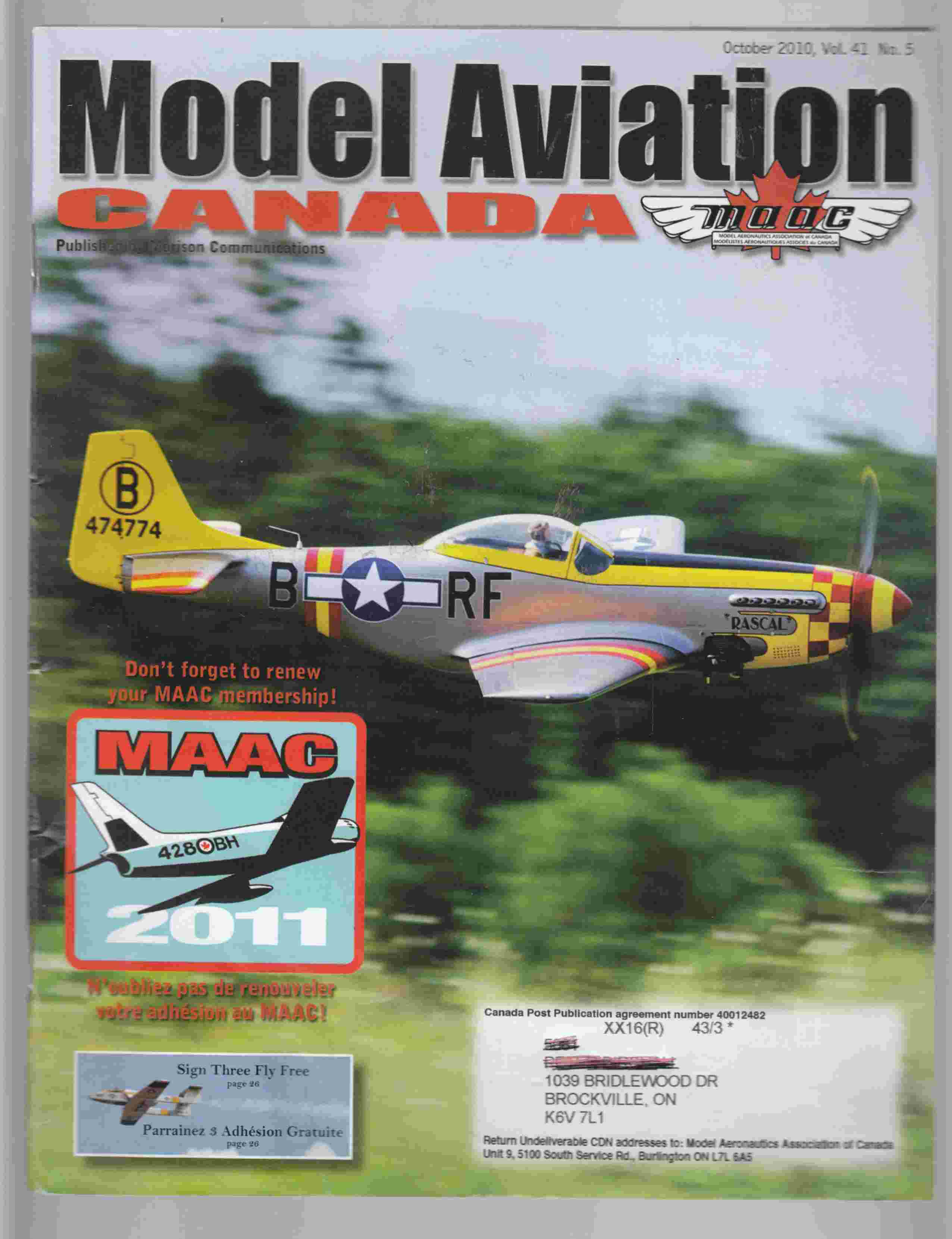 Image for Model Aviation Canada October 2010 Vol. 41 No. 5