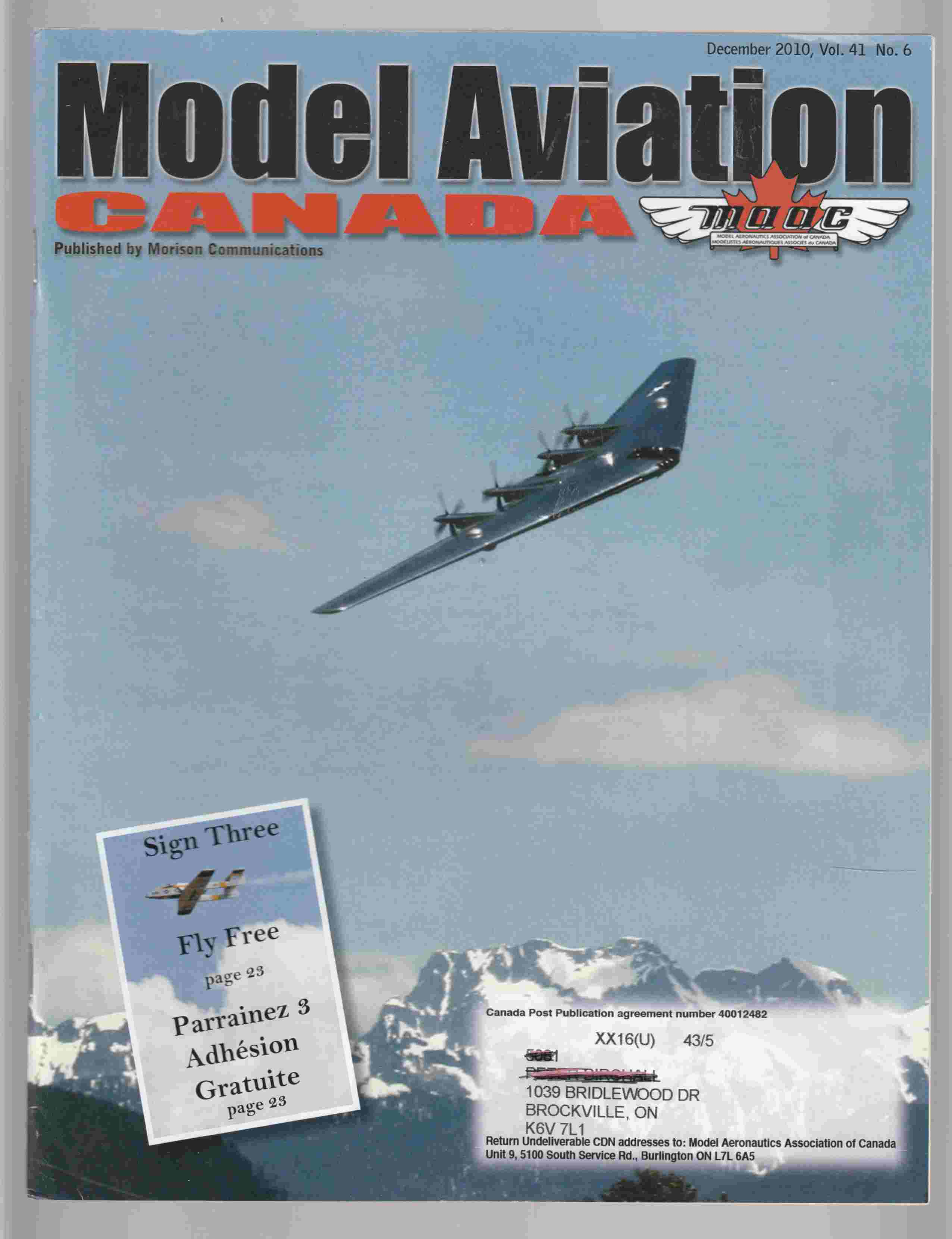 Image for Model Aviation Canada December 2010 Vol. 41 No. 6