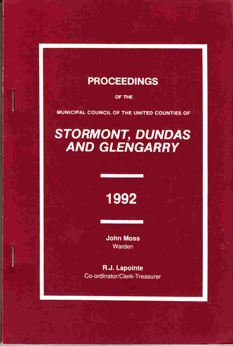 Image for Proceedings of the Municipal Council of the United Counties of Stormont, Dundas and Glengarry 1992