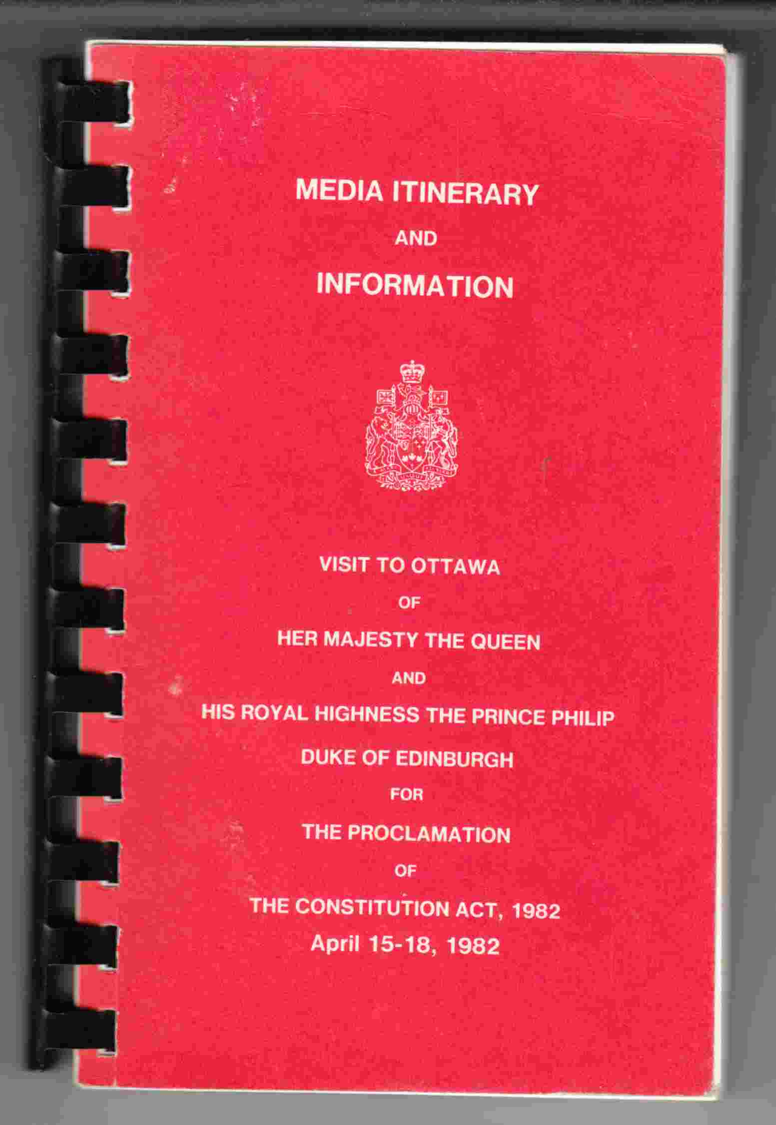 Image for Media Itinerary and Information Visit to Ottawa for the Proclamation of the Constitution Act