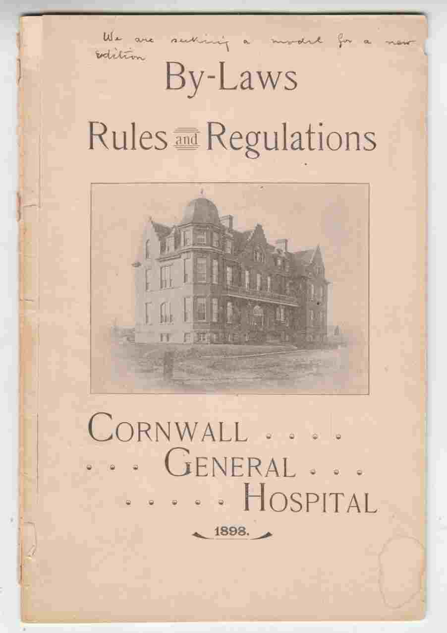 Image for By-Laws, Rules and Regulations Cornwall General Hospital