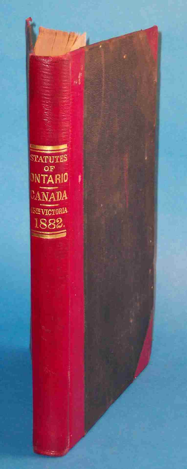 Image for Statutes of the Province of Ontario 1882