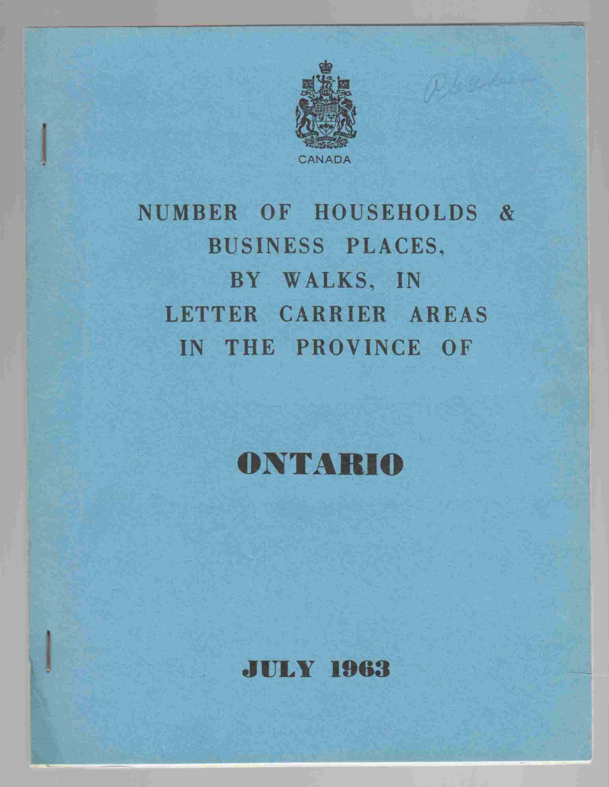 Image for Number of Households & Business Places, by Walks, in Letter Carrier Areas in the Province of Ontario