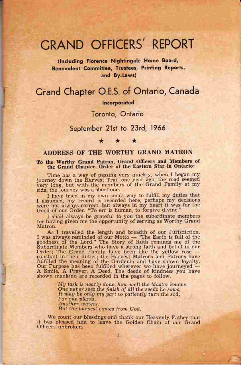 Image for Grand Officer's Report, Grand Chapter O.E.S. Of Ontario, Canada