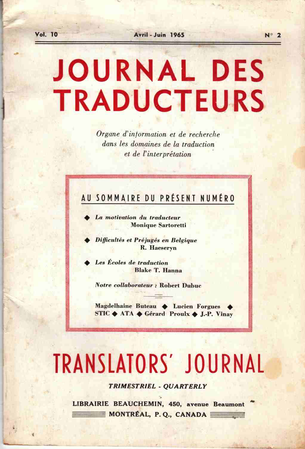 Image for Journal Des Traducteurs Translators' Journal Avril-Juin 1965