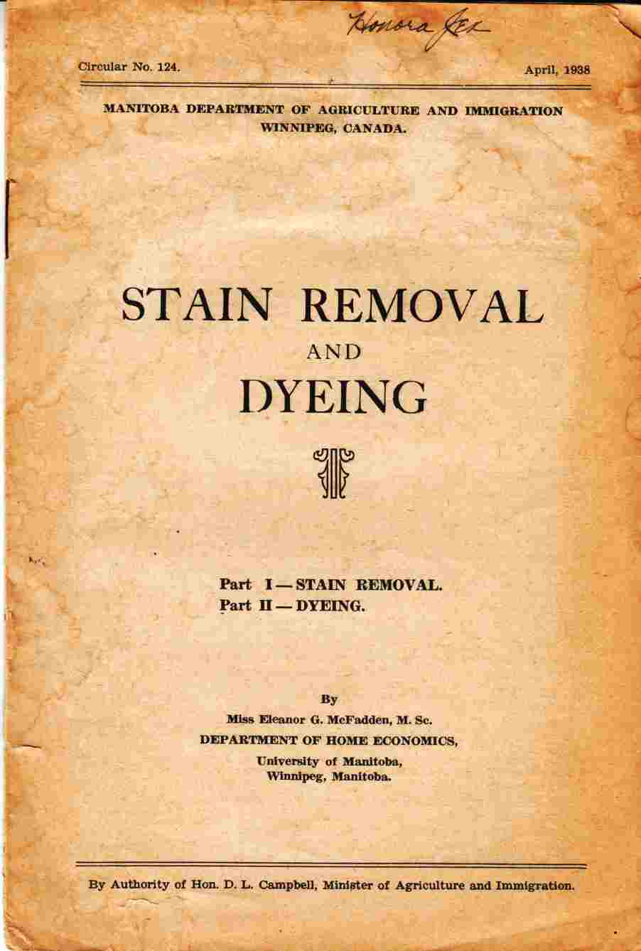 Image for Stain Removal and Dyeing