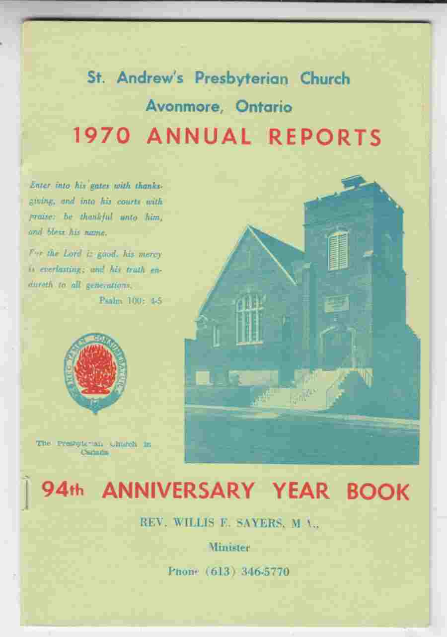 Image for St. Andrew's Presbyterian Church Avonmore, Ontario 1970 Annual Reports