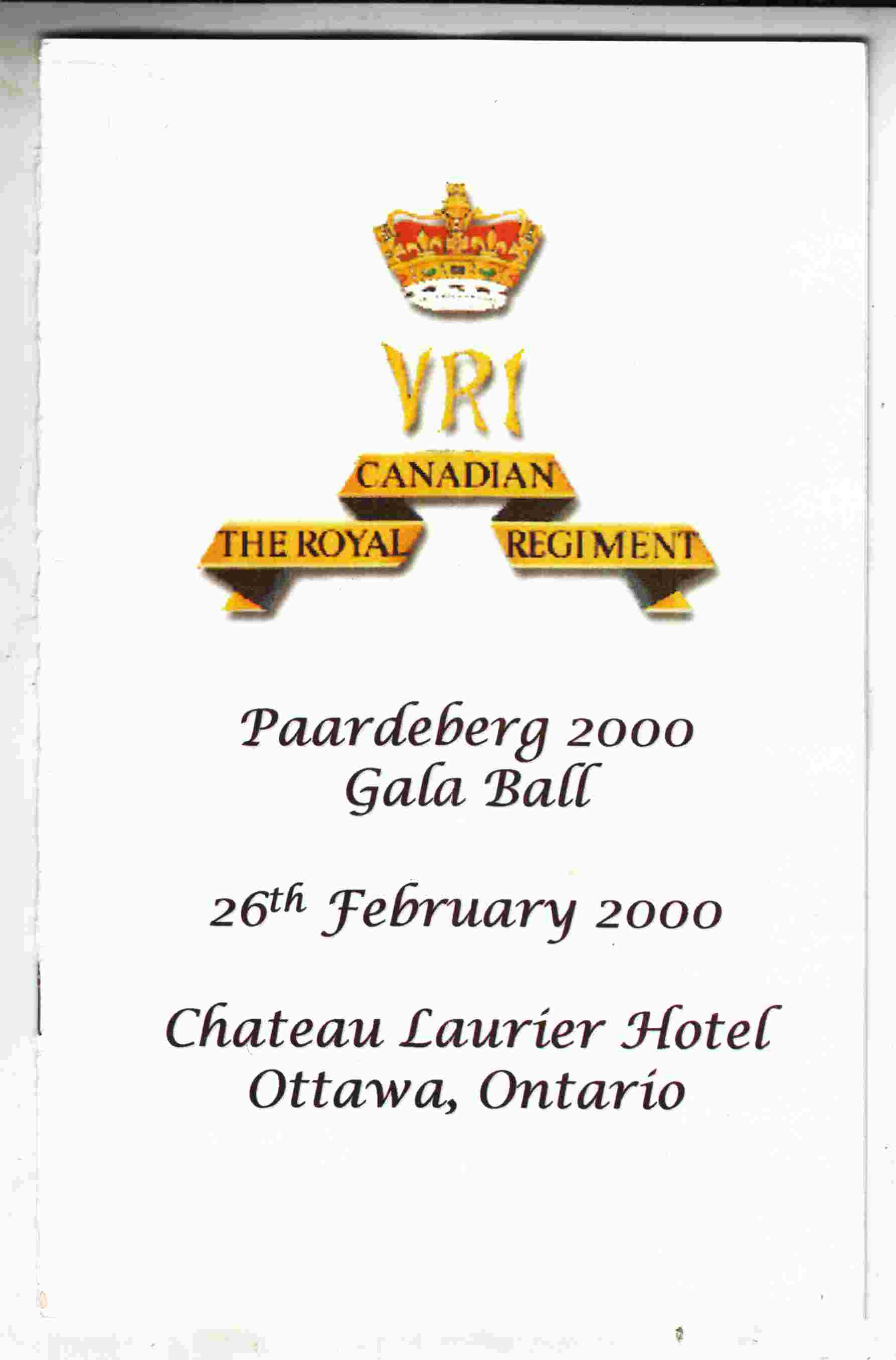Image for The Royal Canadian Regiment Paardeburg 2000 Gala Ball