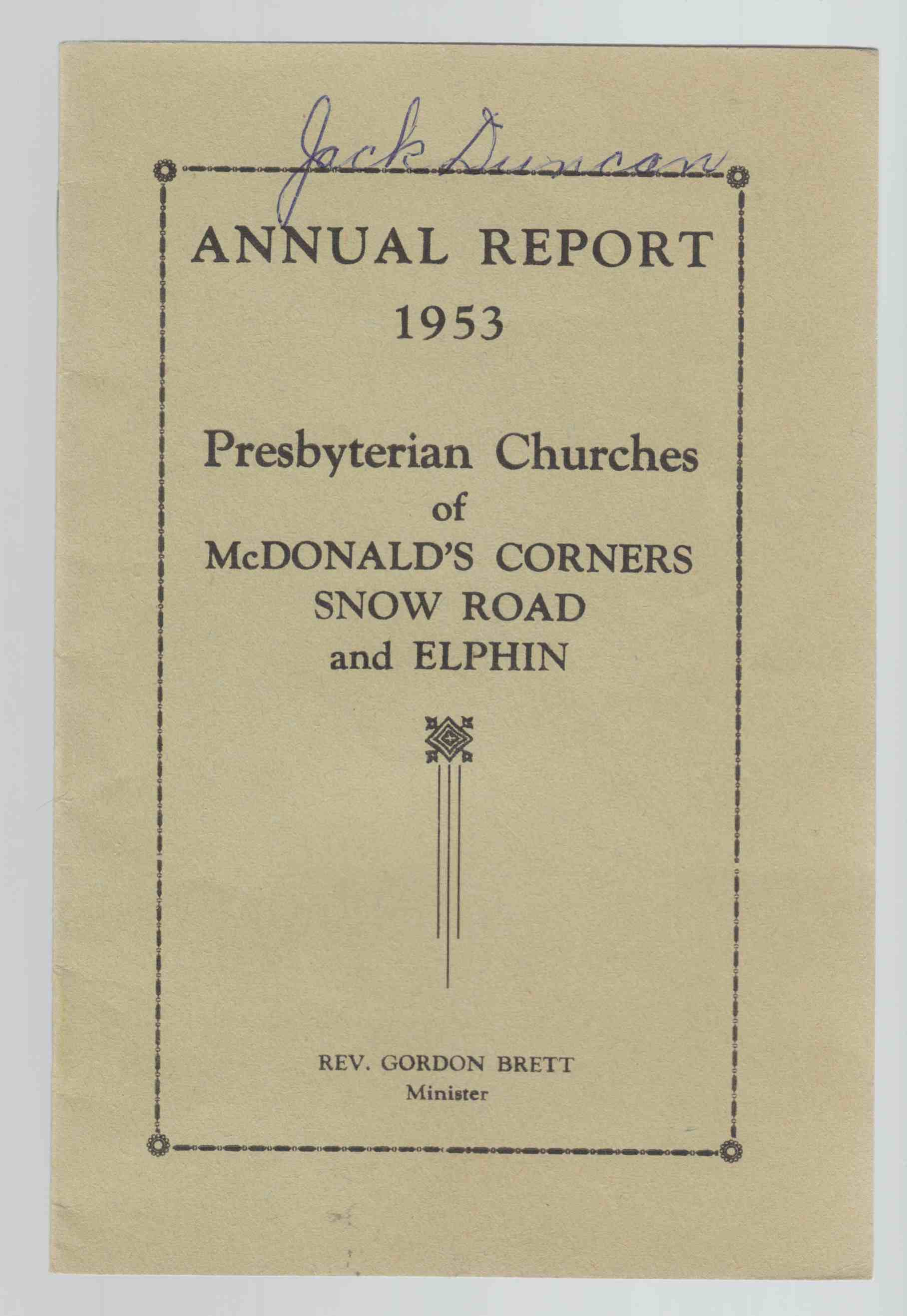 Image for Annual Report 1953 Presbyterian Churches of Mcdonald's Corners, Snow Road and Elphin