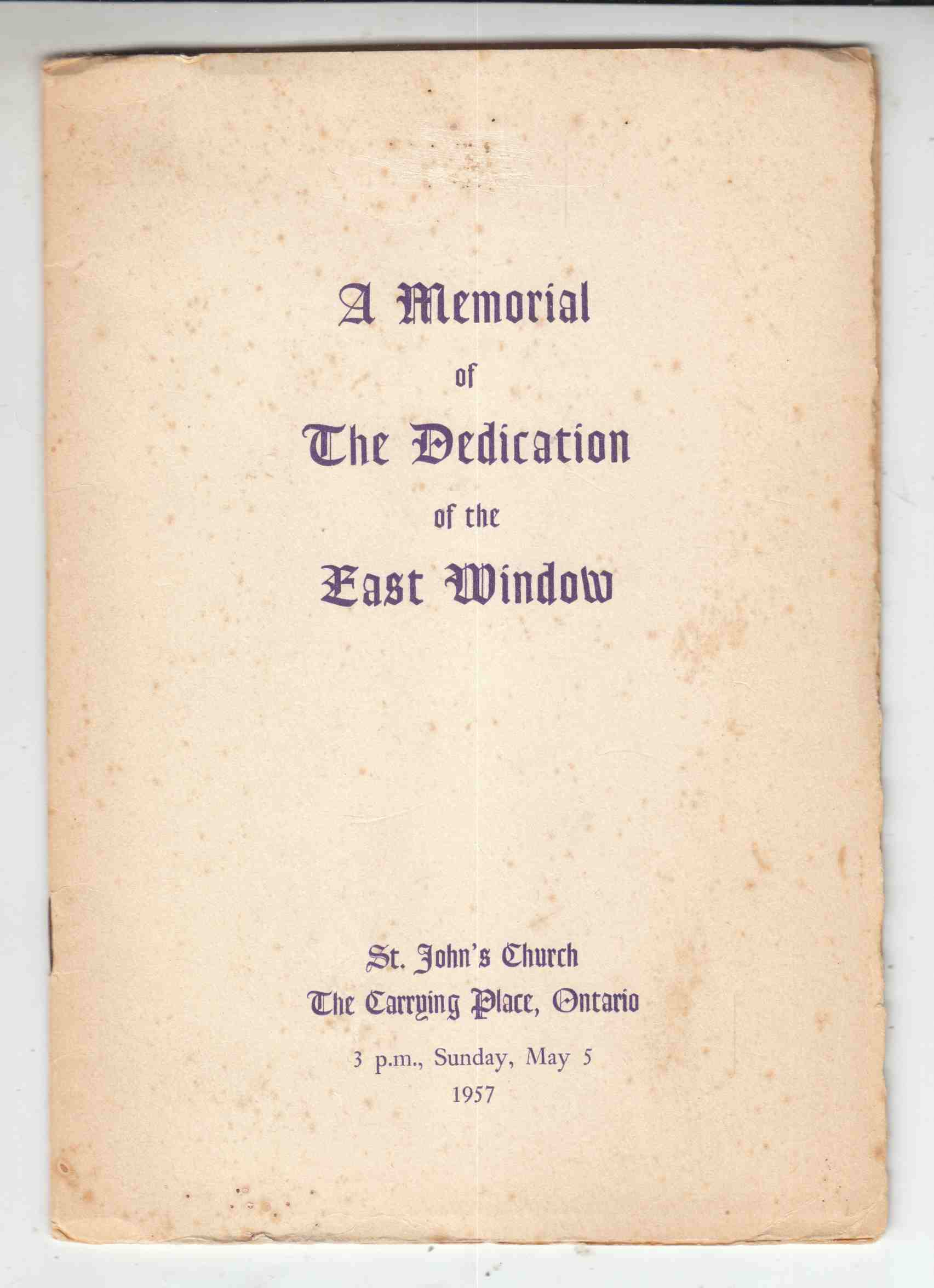 Image for A Memorial of the Dedication of the East Window