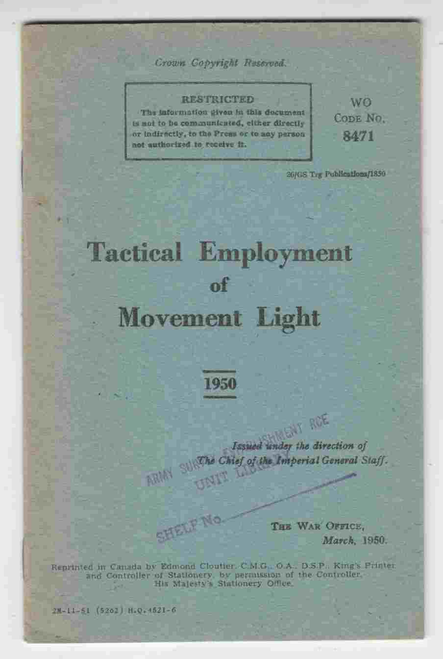 Image for Tactical Employment of Movement Light