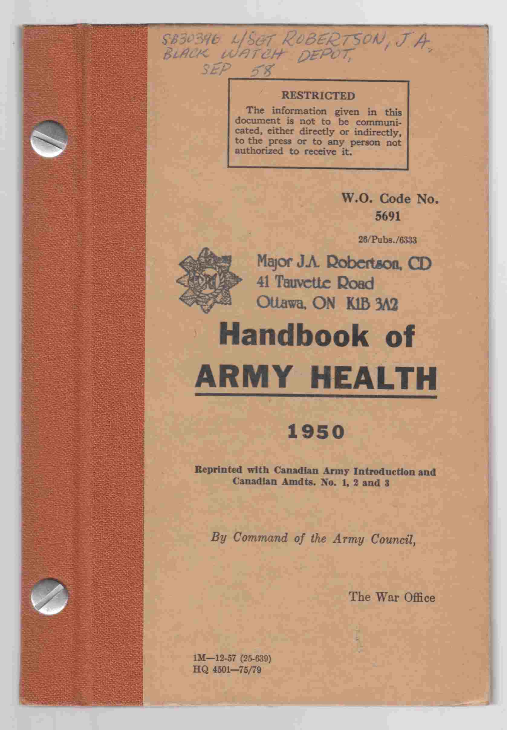 Image for Handbook of Army Health 1950 Reprinted with Canadian Army Introduction and Canadian Amendments No. 1, 2, and 3