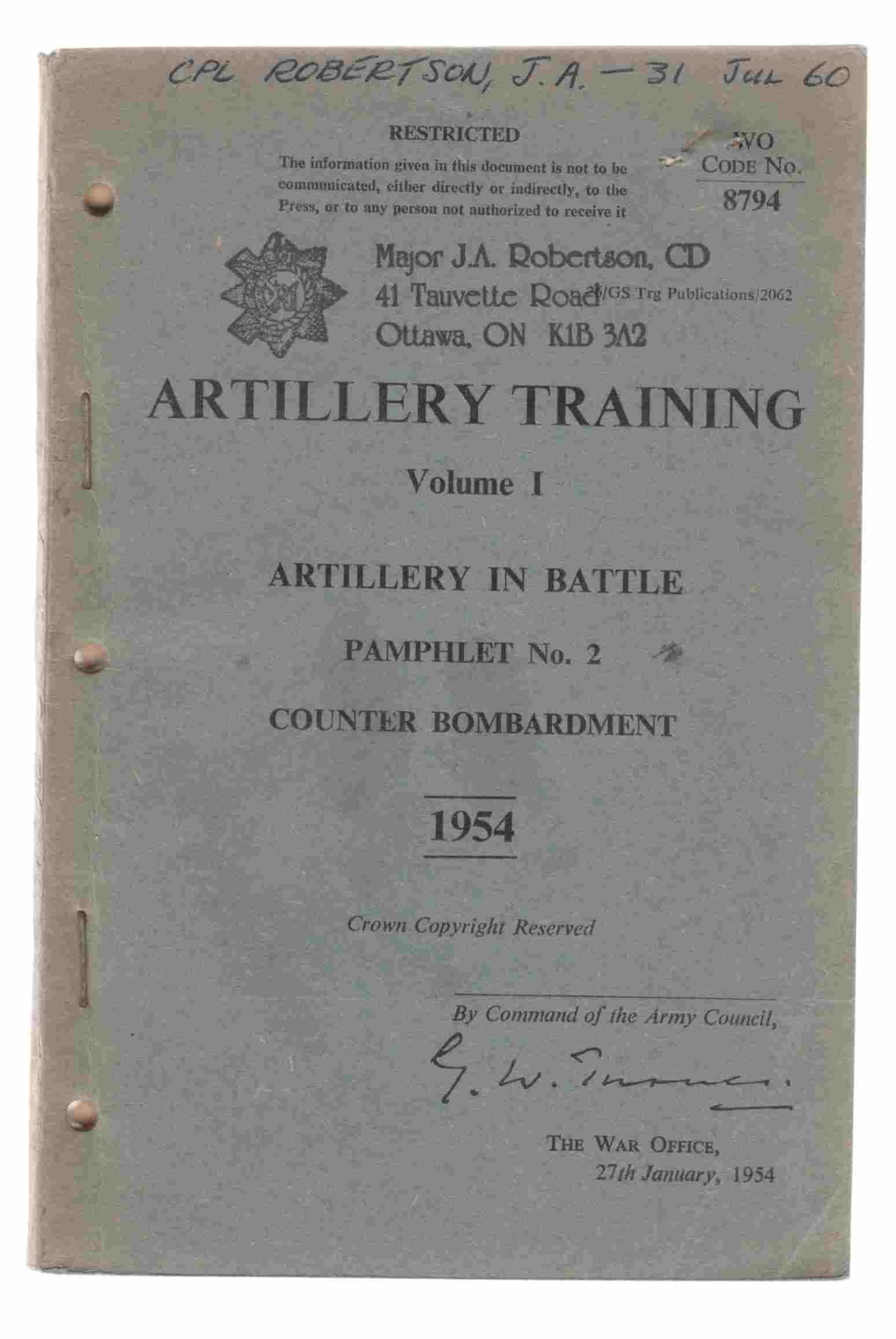 Image for Artillery Training Volume I Artillery in Battle Pamphlet No. 2 Counter Bombardment 1954