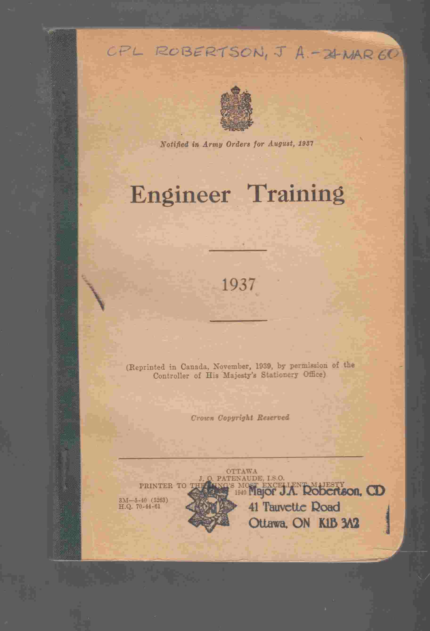 Image for Engineer Training 1937