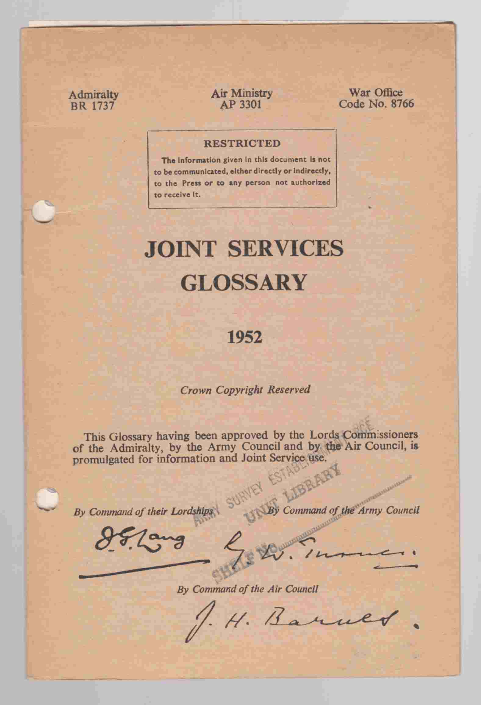 Image for Joint Services Glossary 1952