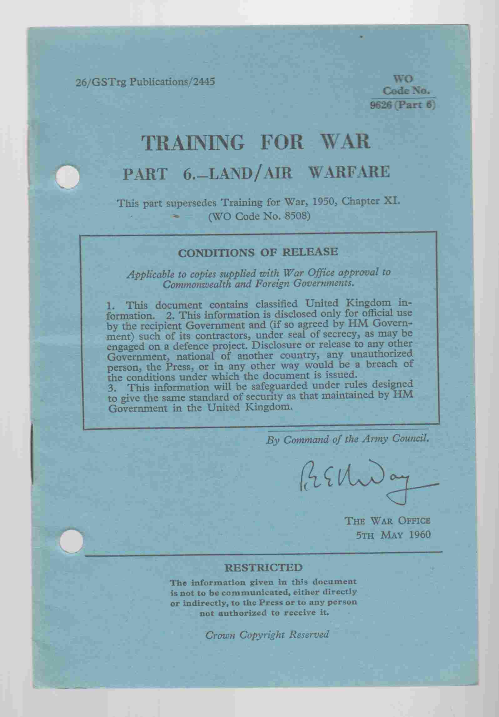Image for Training for War Part 6 - Land / Air Warfare