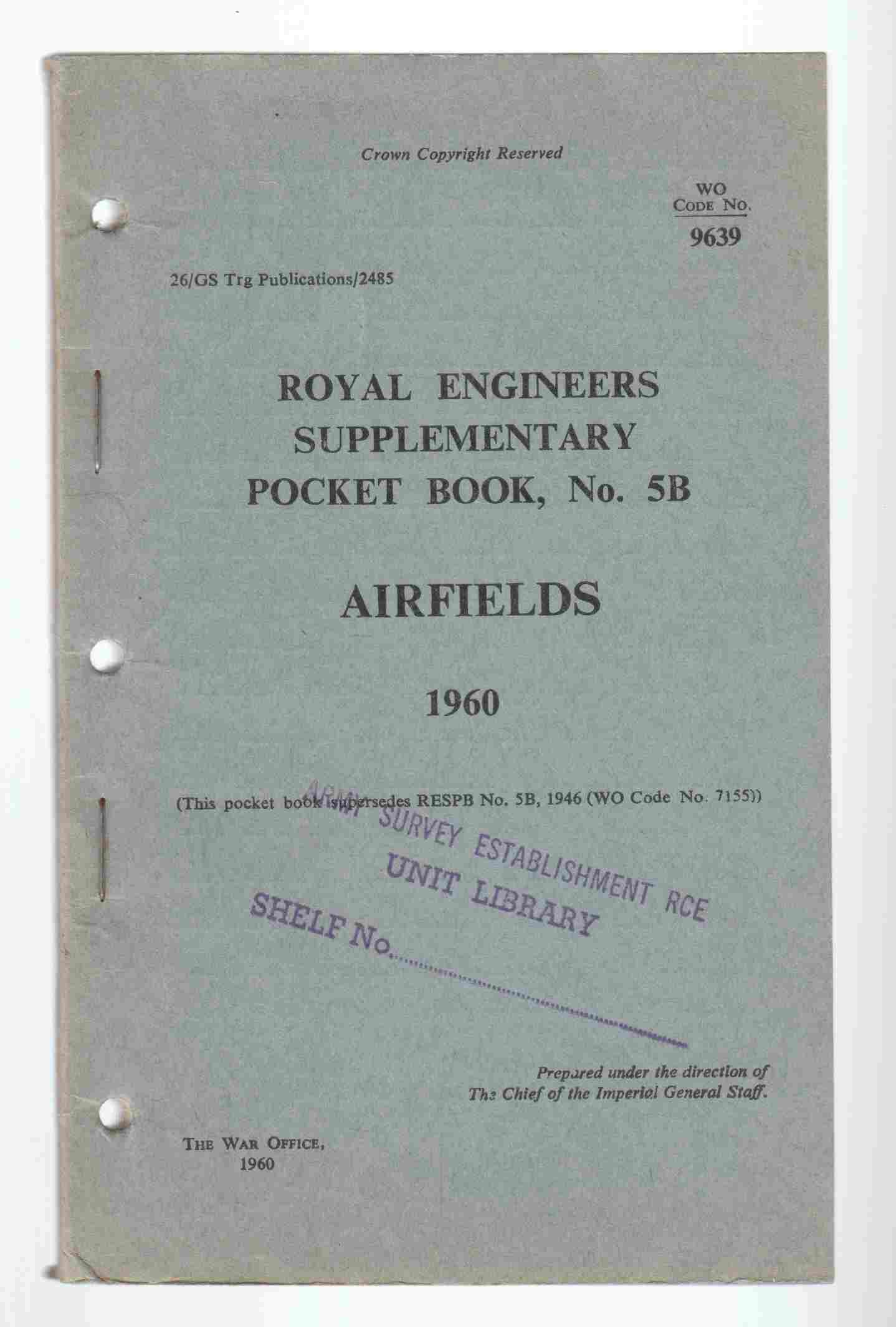 Image for Royal Engineers Supplementary Pocket Book No. 5B Airfields 1960
