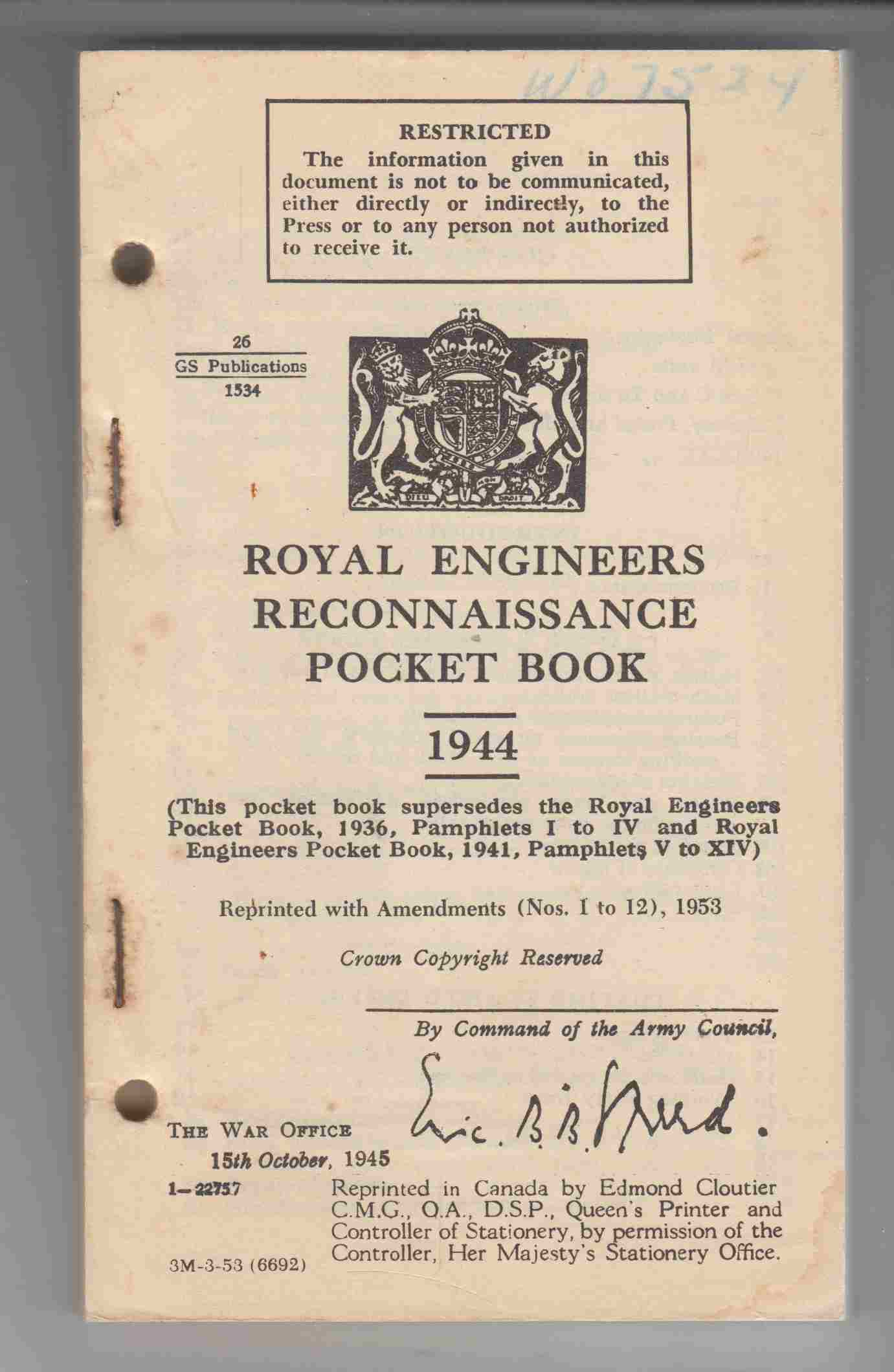 Image for Royal Engineers Reconnaissance Pocket Book 1944