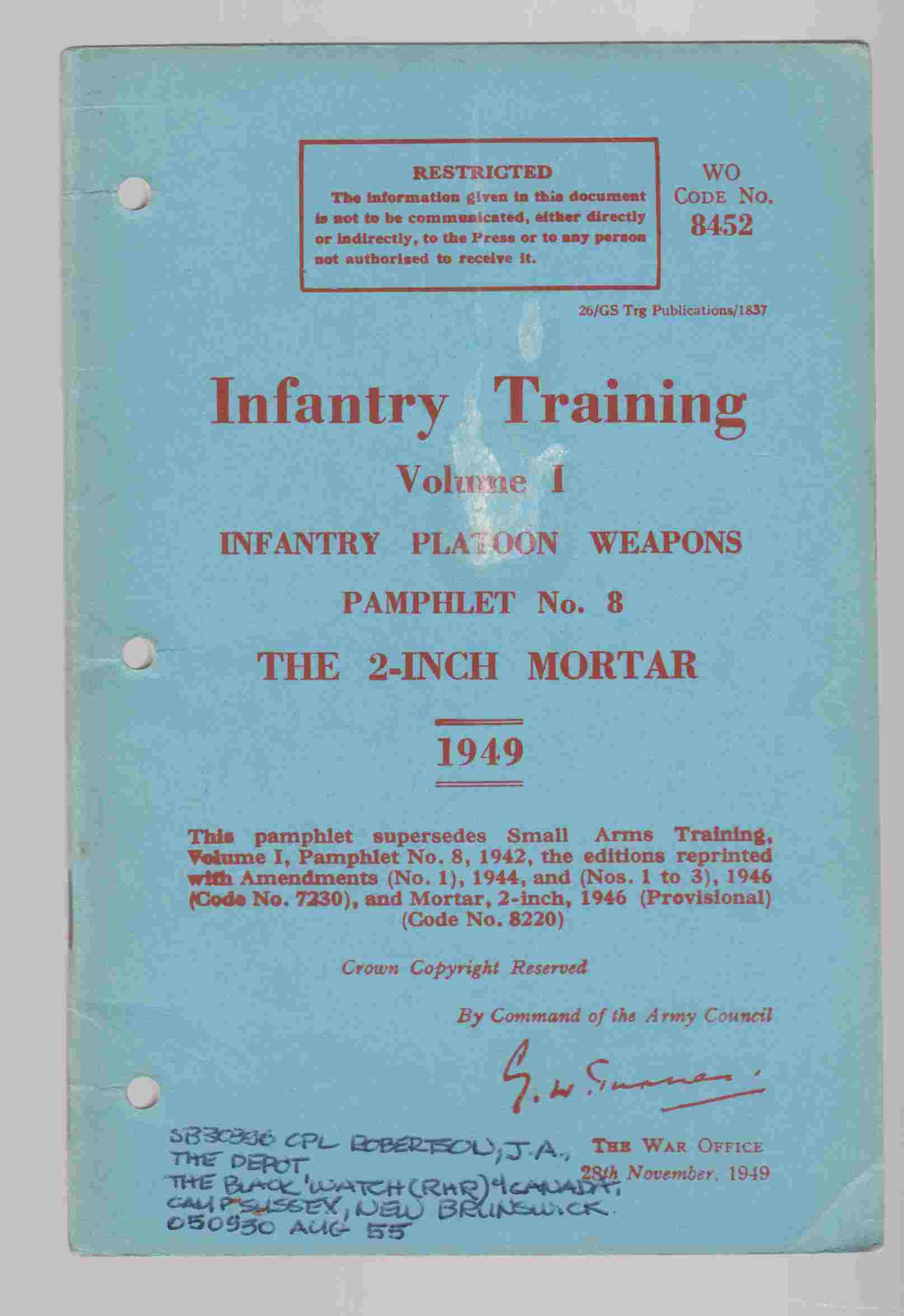 Image for Infantry Training Volume I Infantry Platoon Weapons Pamphlet No. 8 The 2-Inch Mortar 1949