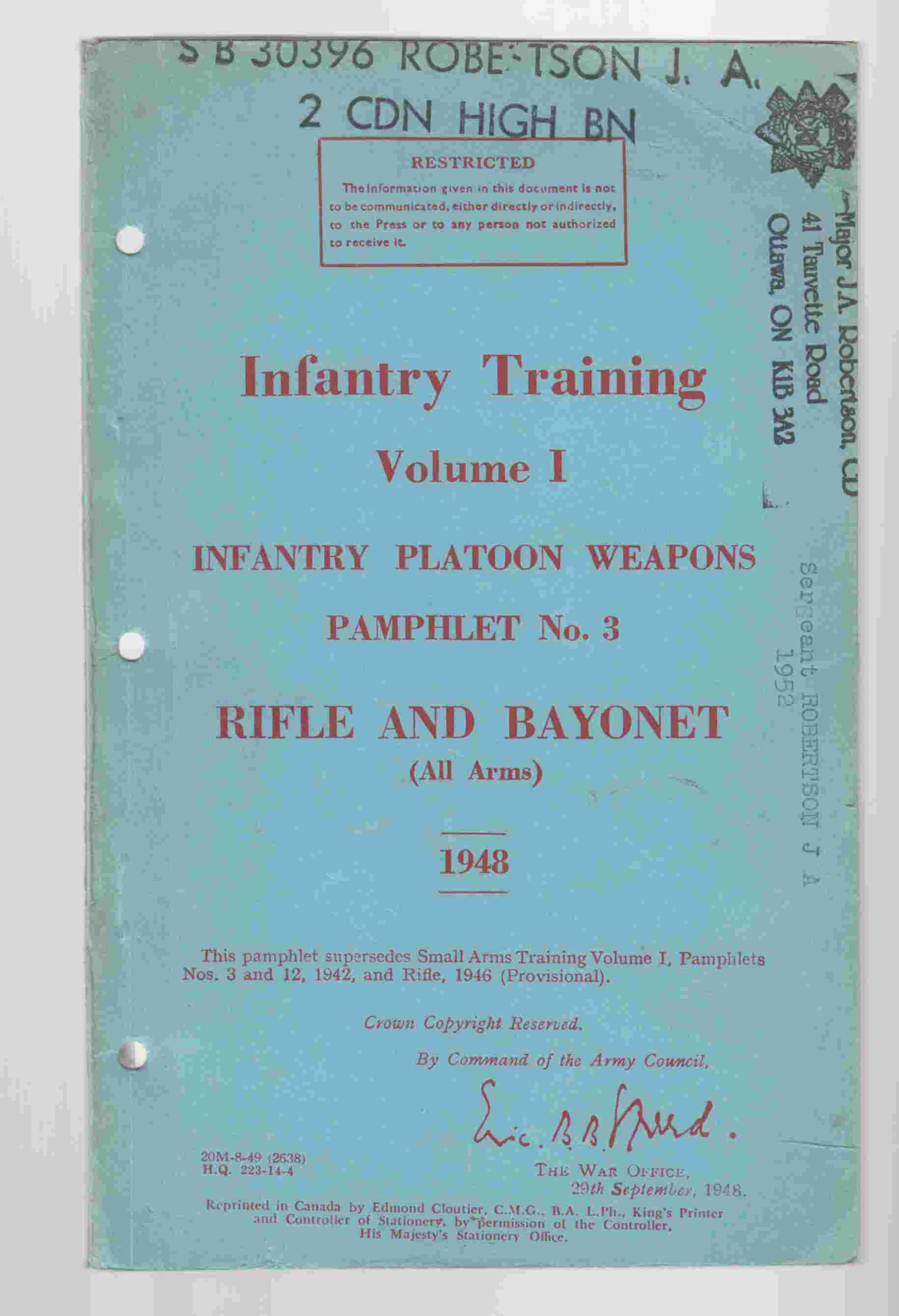 Image for Infantry Training Volume I Infantry Platoon Weapons Pamphlet No. 3 Rifle and Bayonet (All Arms) 1948