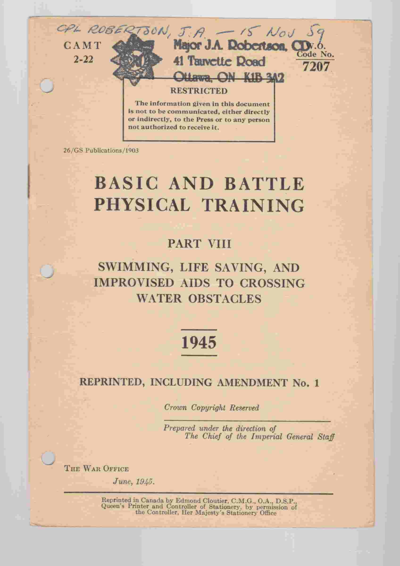 Image for Basic and Battle Physical Training Part VIII Swimming, Life Saving, and Improvised Aids to Crossing Water Obstacles 1945