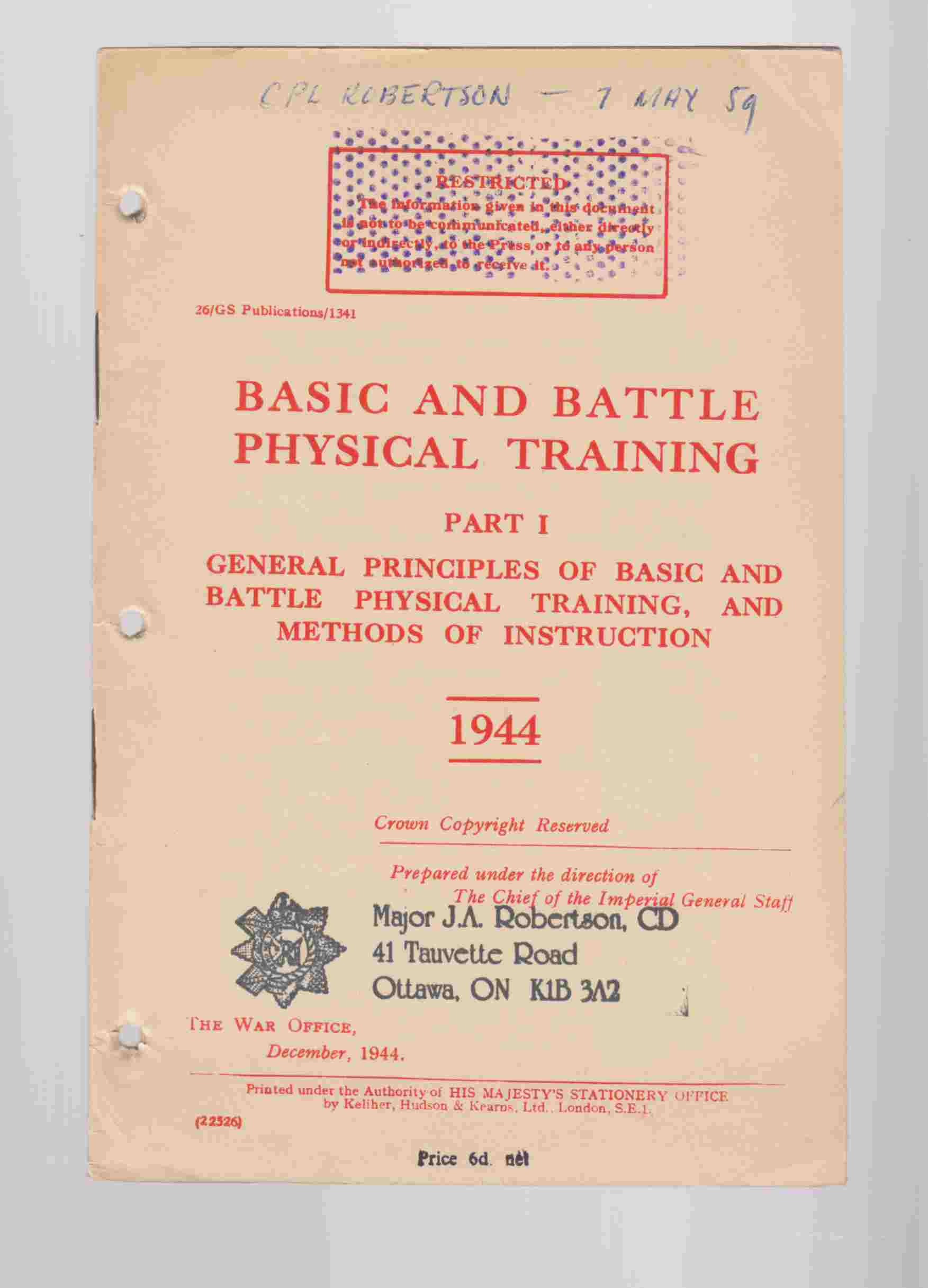 Image for Basic and Battle Physical Training Part I General Principles of Basic and Battle Physical Training and Methods of Instruction 1944