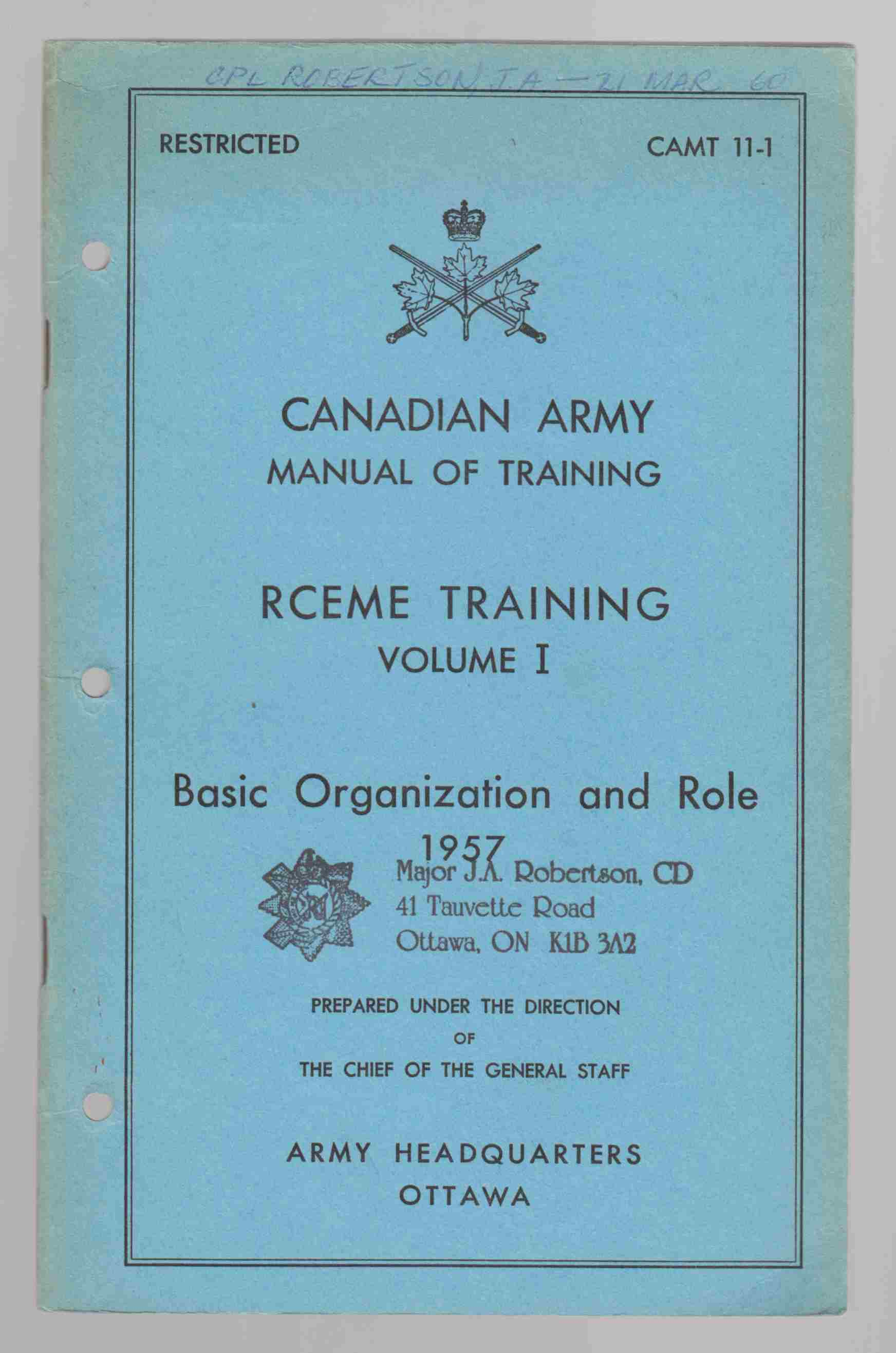 Image for RCEME Training Volume I Basic Organization and Role CAMT 11-1