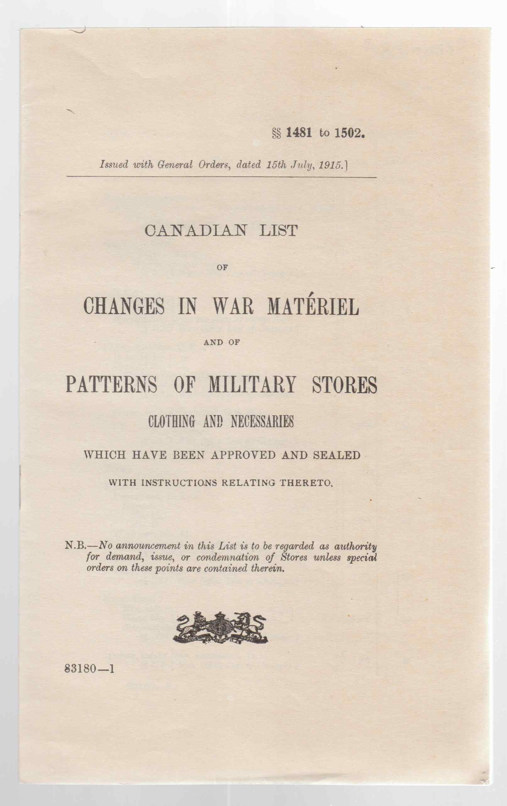 Image for Canadian List of Changes in War Materiel and of Patterns of Military Stores Clothing and Necessaries Which Have Been Approved and Sealed with Instructions Hereto