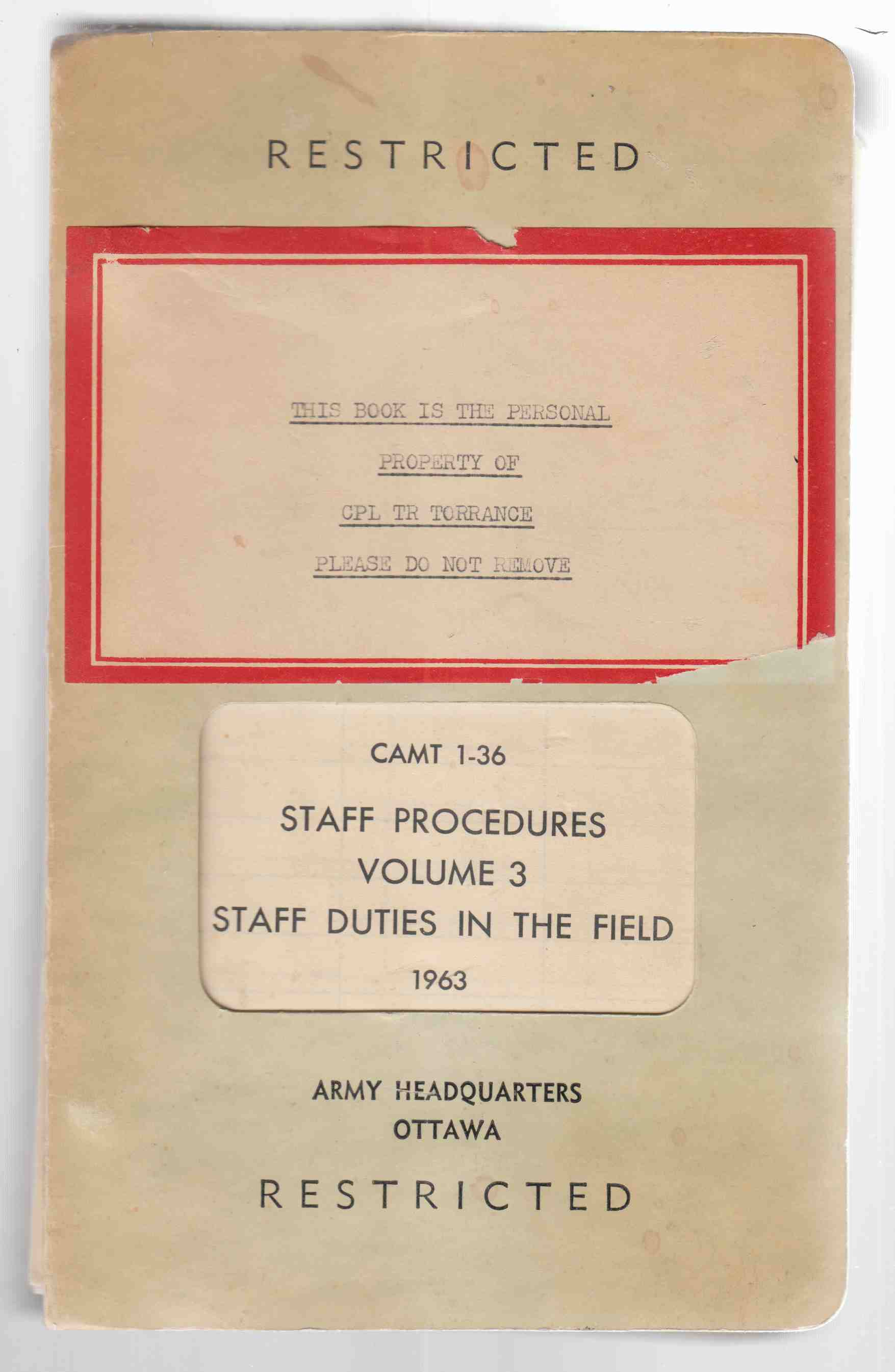 Image for Staff Procedures Volume 3 Staff Duties in the Field 1963 CAMT 1-36