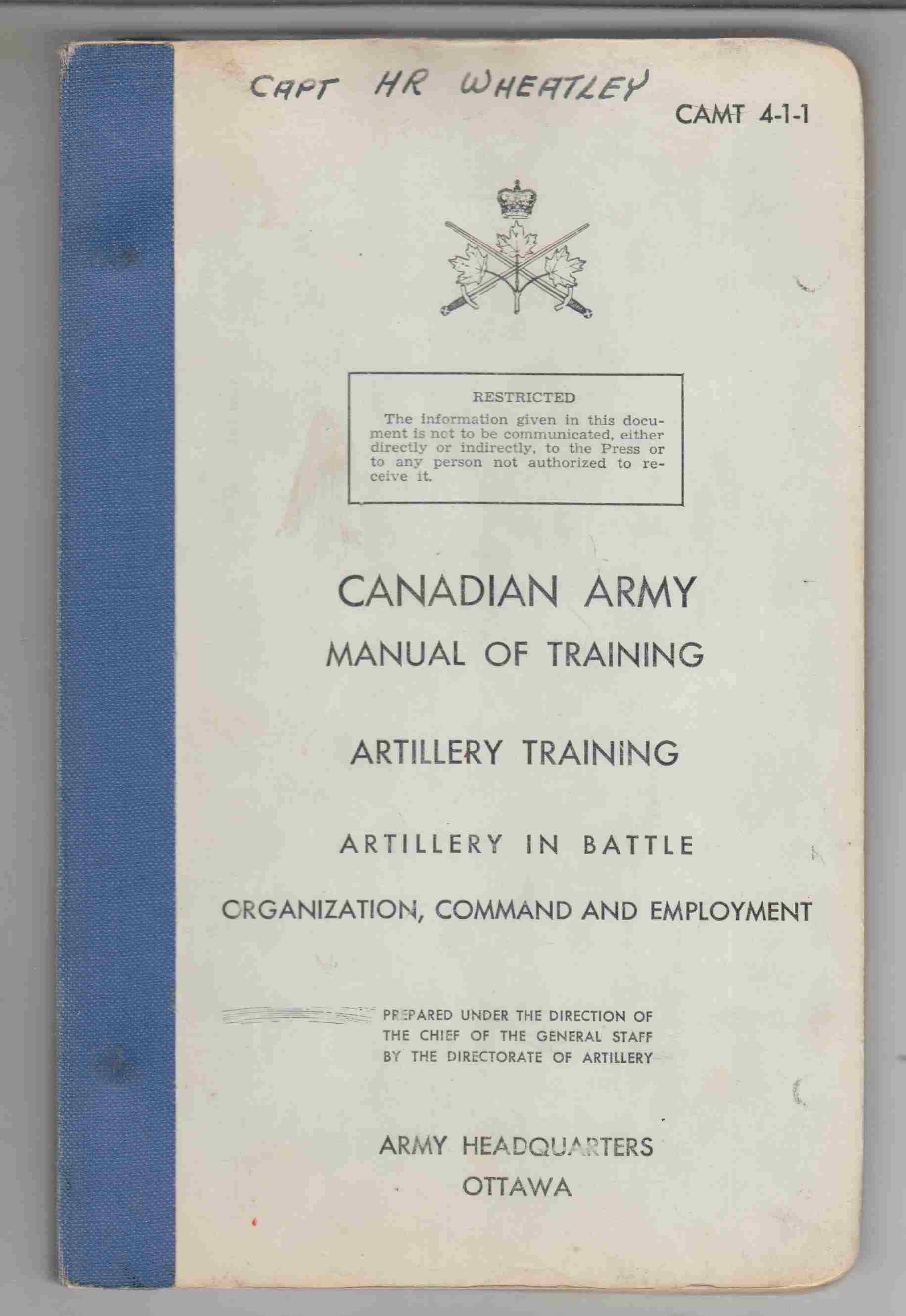 Image for Artillery Training: Artillery in Battle Organization, Command and Employment (1960)