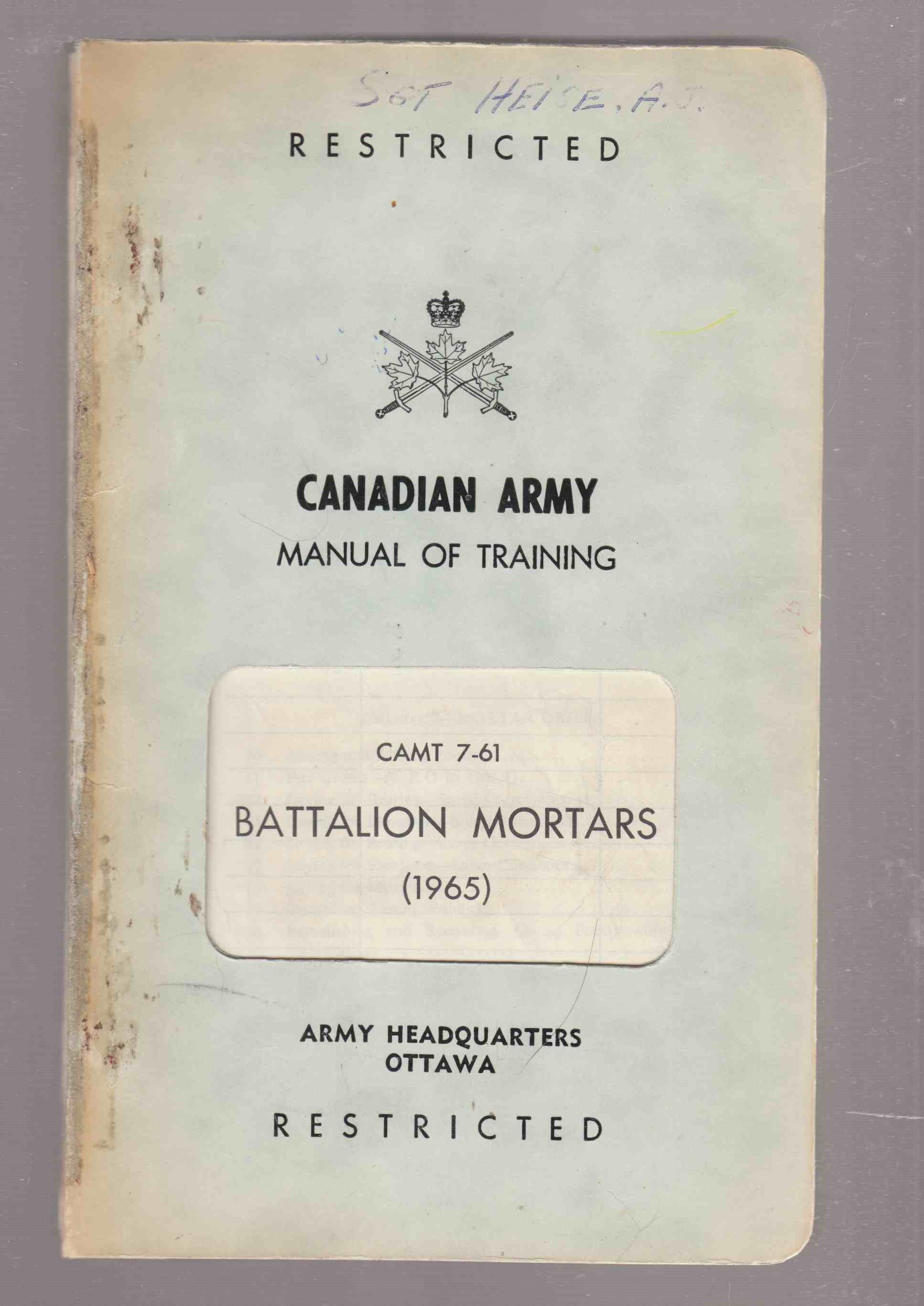 Image for Artillery Training : Battalion Mortars CAMT 7-65
