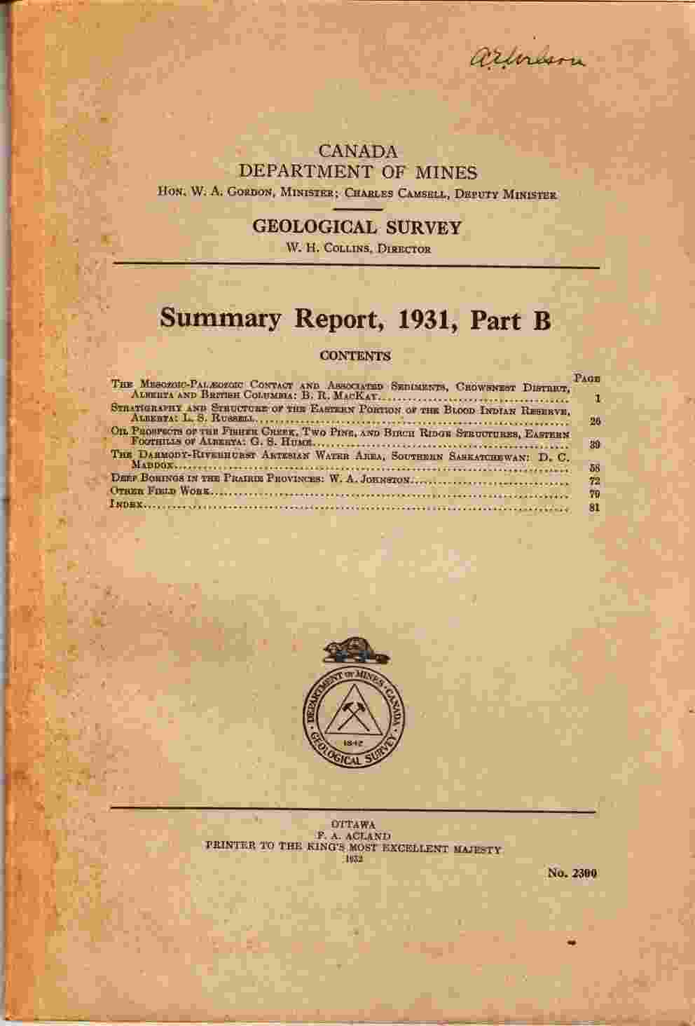 Image for Summary Report, 1931, Part B