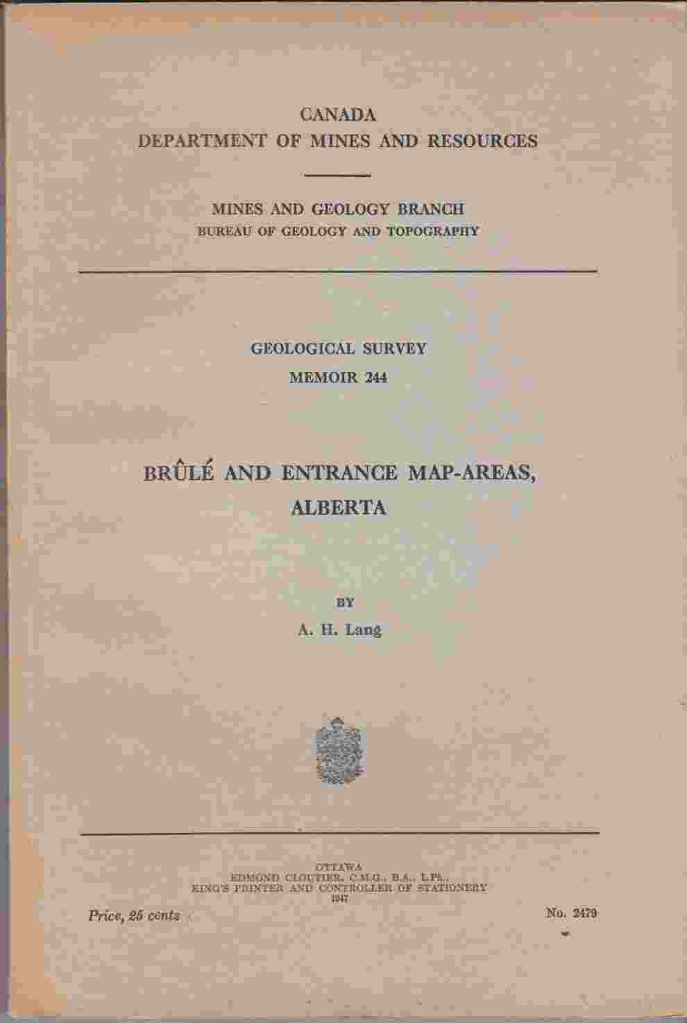 Image for Brule and Entrance Map-Areas, Alberta (Geological Survey Memoir 244)