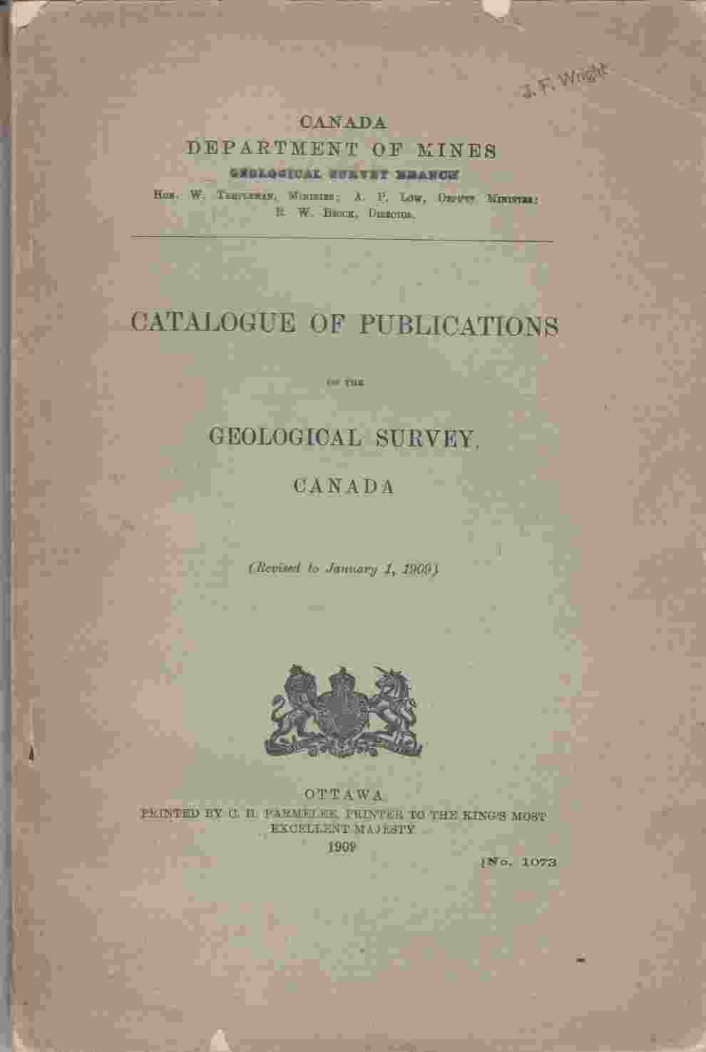 Image for Catalogue of Publications of the Geological Survey, Canada