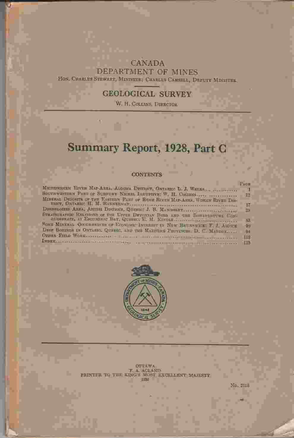Image for Summary Report, 1928, Part C