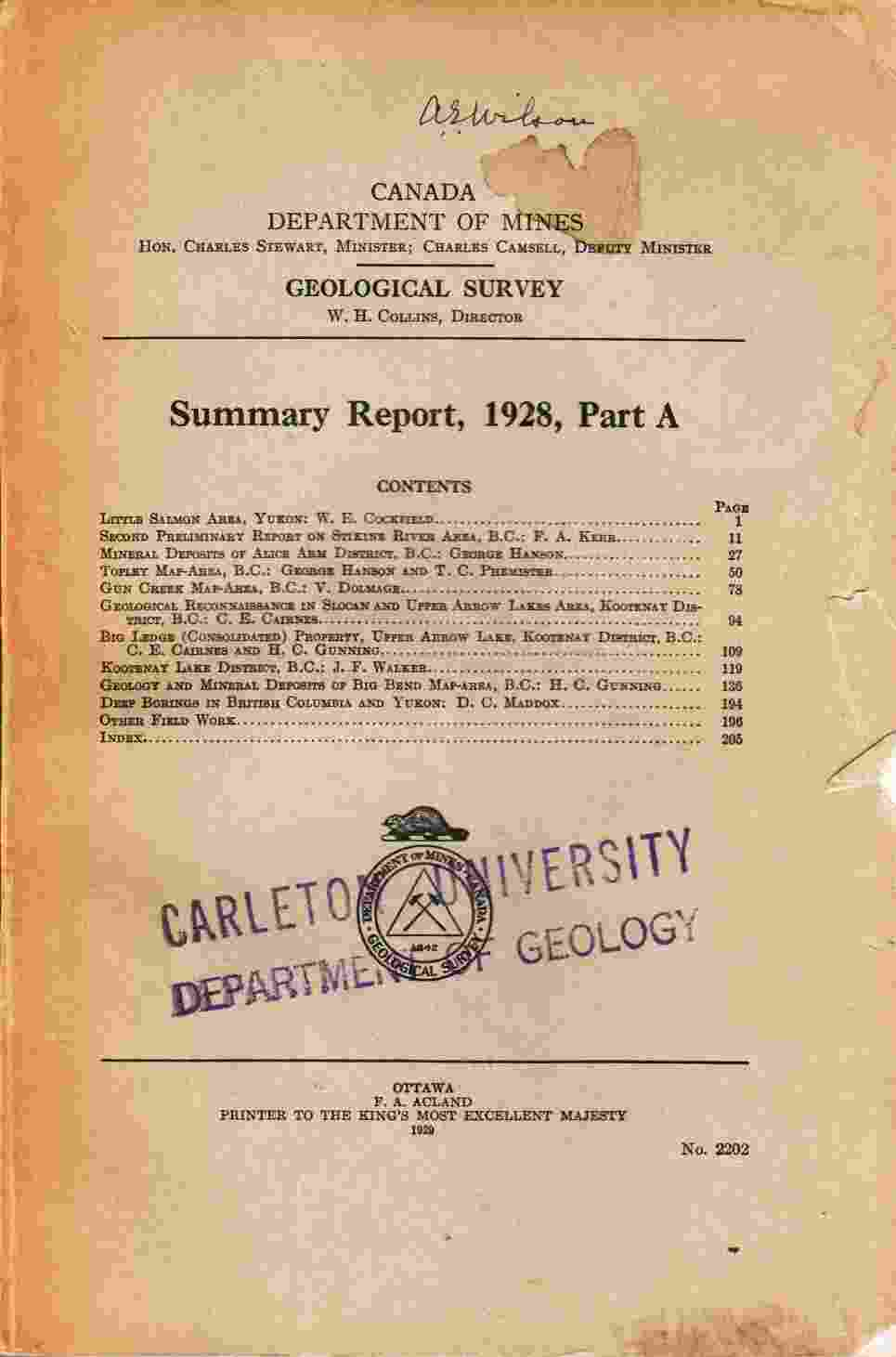 Image for Summary Report, 1928, Part A