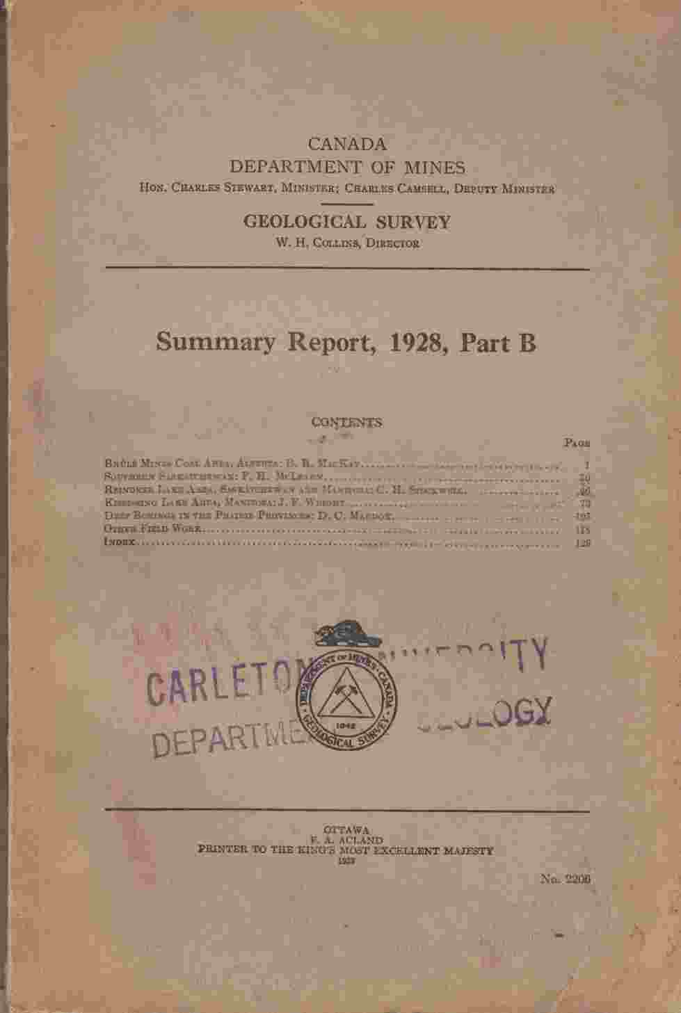 Image for Summary Report, 1928, Part B