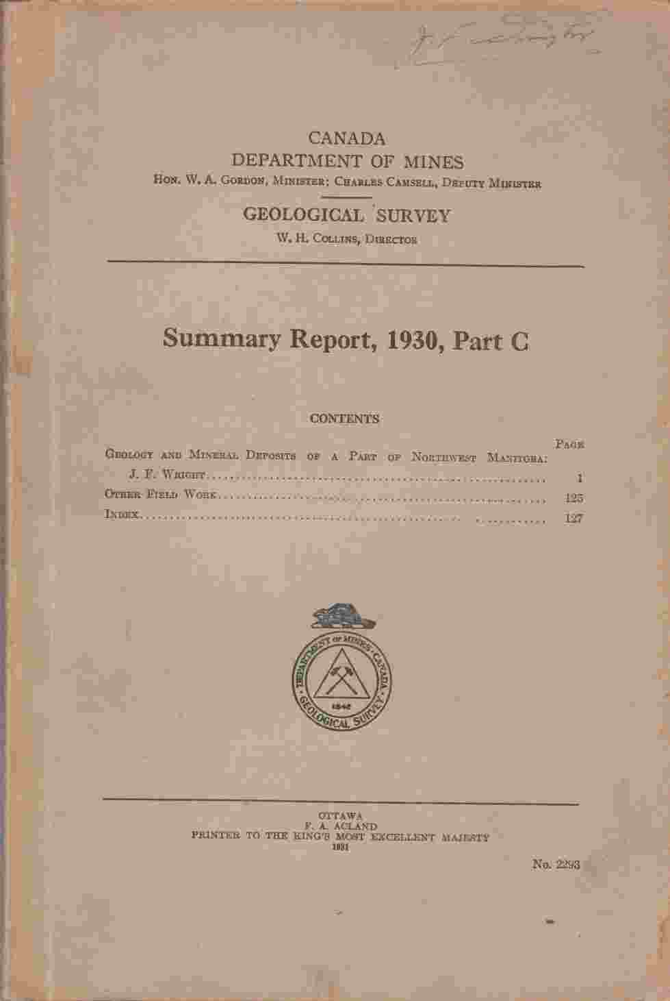 Image for Summary Report, 1930, Part C