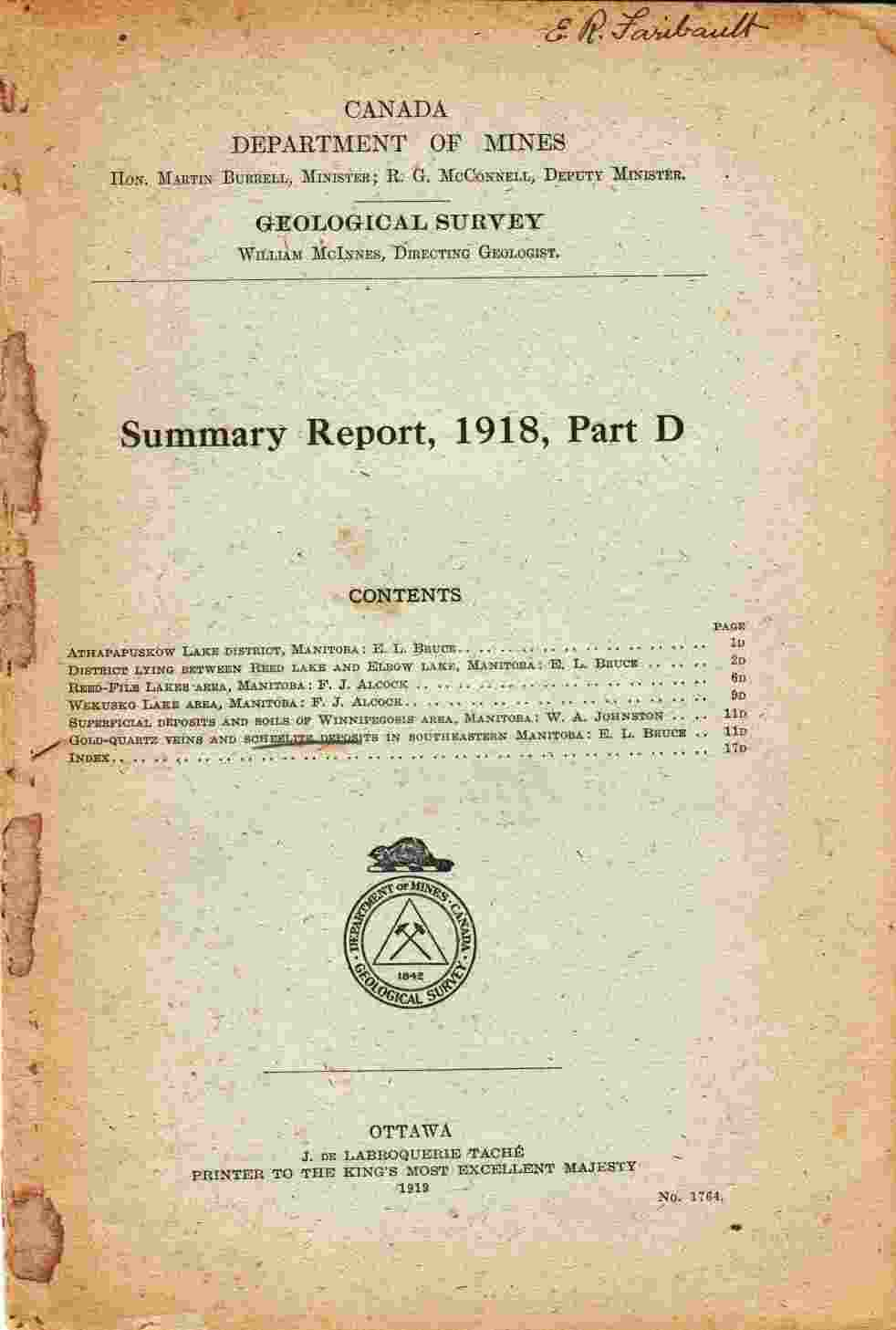 Image for Summary Report, 1918, Part D