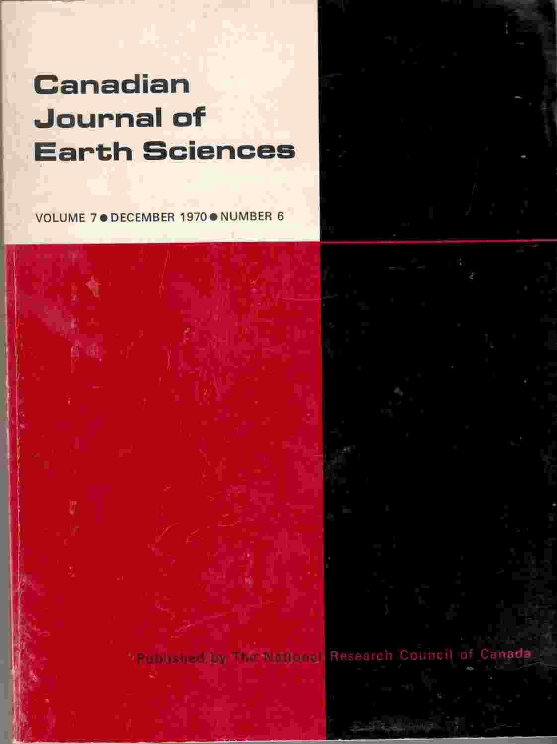 Image for Canadian Journal of Earth Sciences, December 1970, Volume 7, Number 6