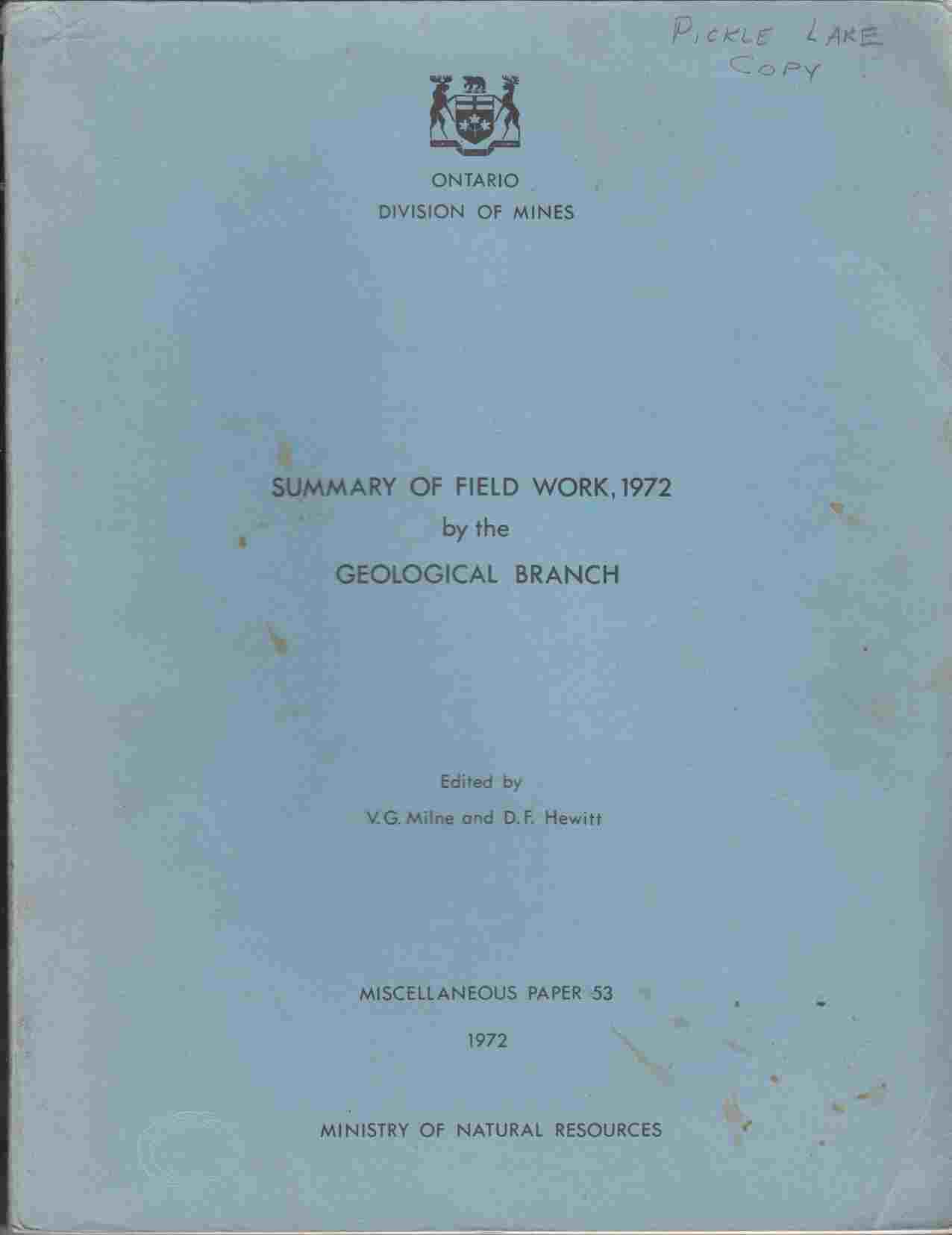 Image for Summary of Field Work, 1972 By the Geological Branch