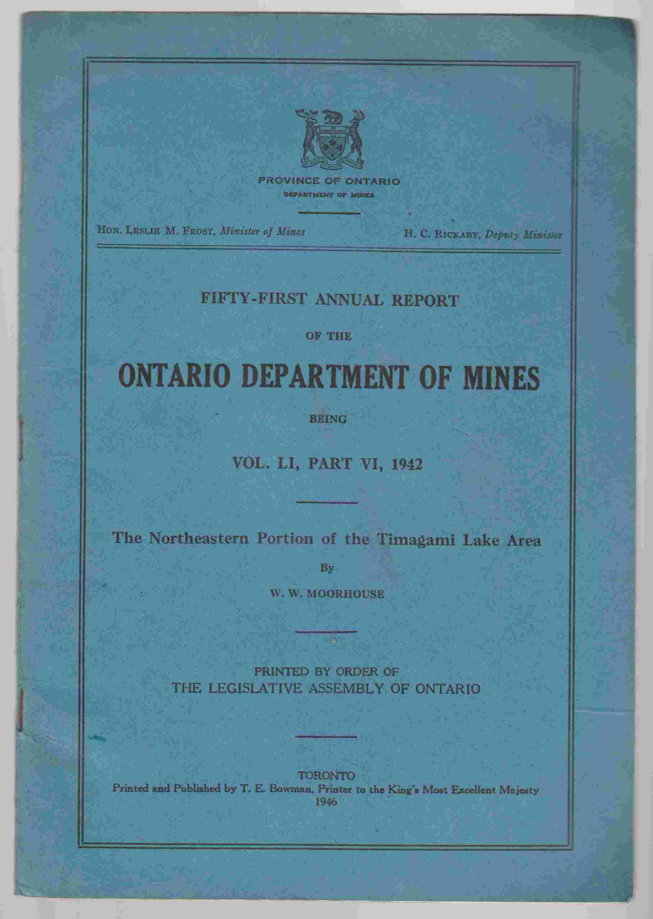 Image for Fifty-First Annual Report of the Department of Mines Being Vol. LI, Part VI, 1942 The Northeastern Portion of the Timagami Lake Area
