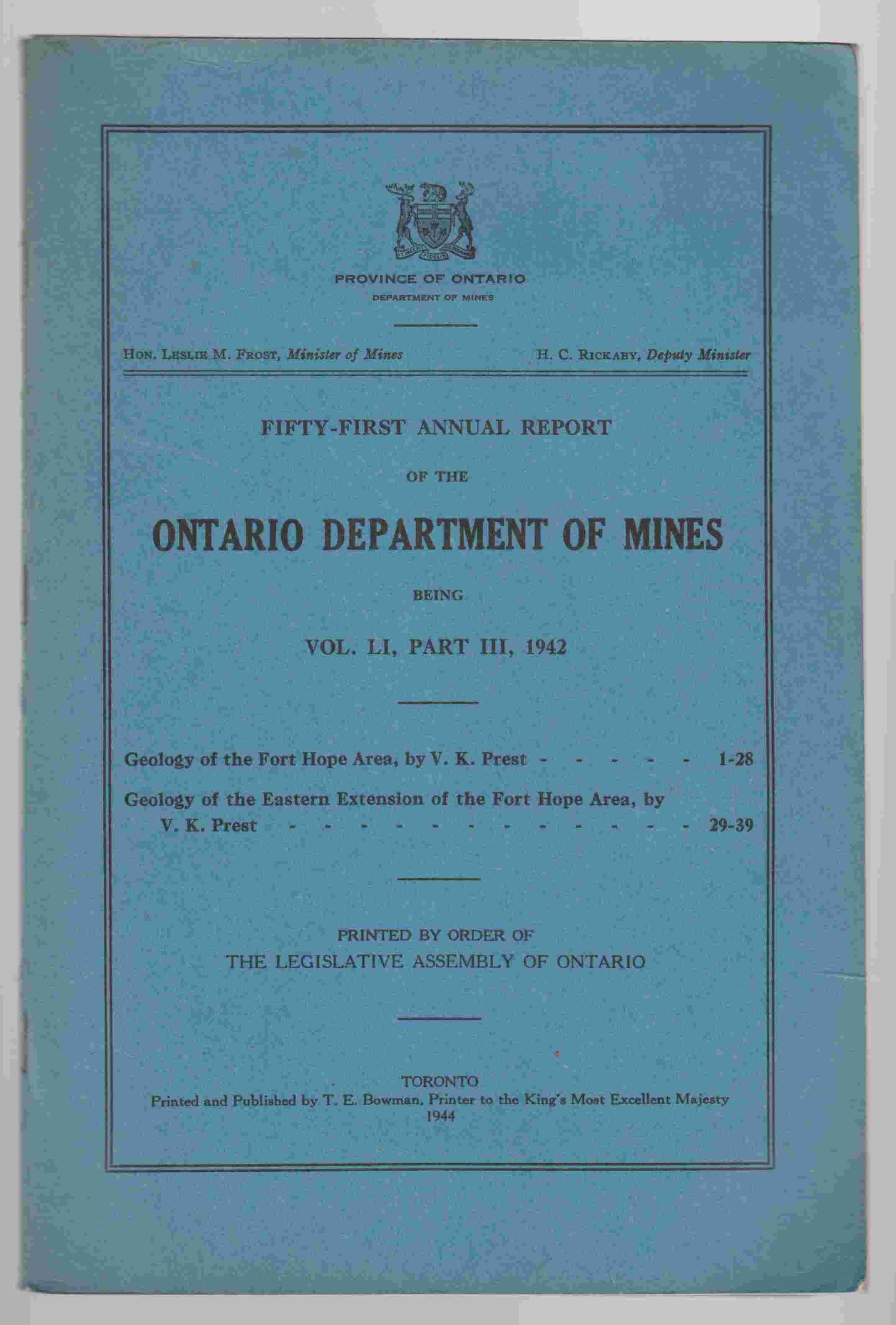 Image for Fifty-First Annual Report of the Department of Mines Being Vol. LI, Part III, 1942 Geology of the Fort Hope Area ; Geology of the Eastern Extension of the Fort Hope Area