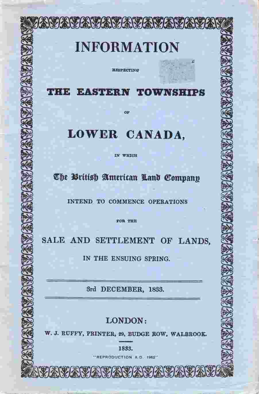 Image for Information Respecting the Eastern Townships of Lower Canada, in Which the British American Land Company Intend to Commence Operations for the Sale and Settlement of Lands in the Ensuing Spring.