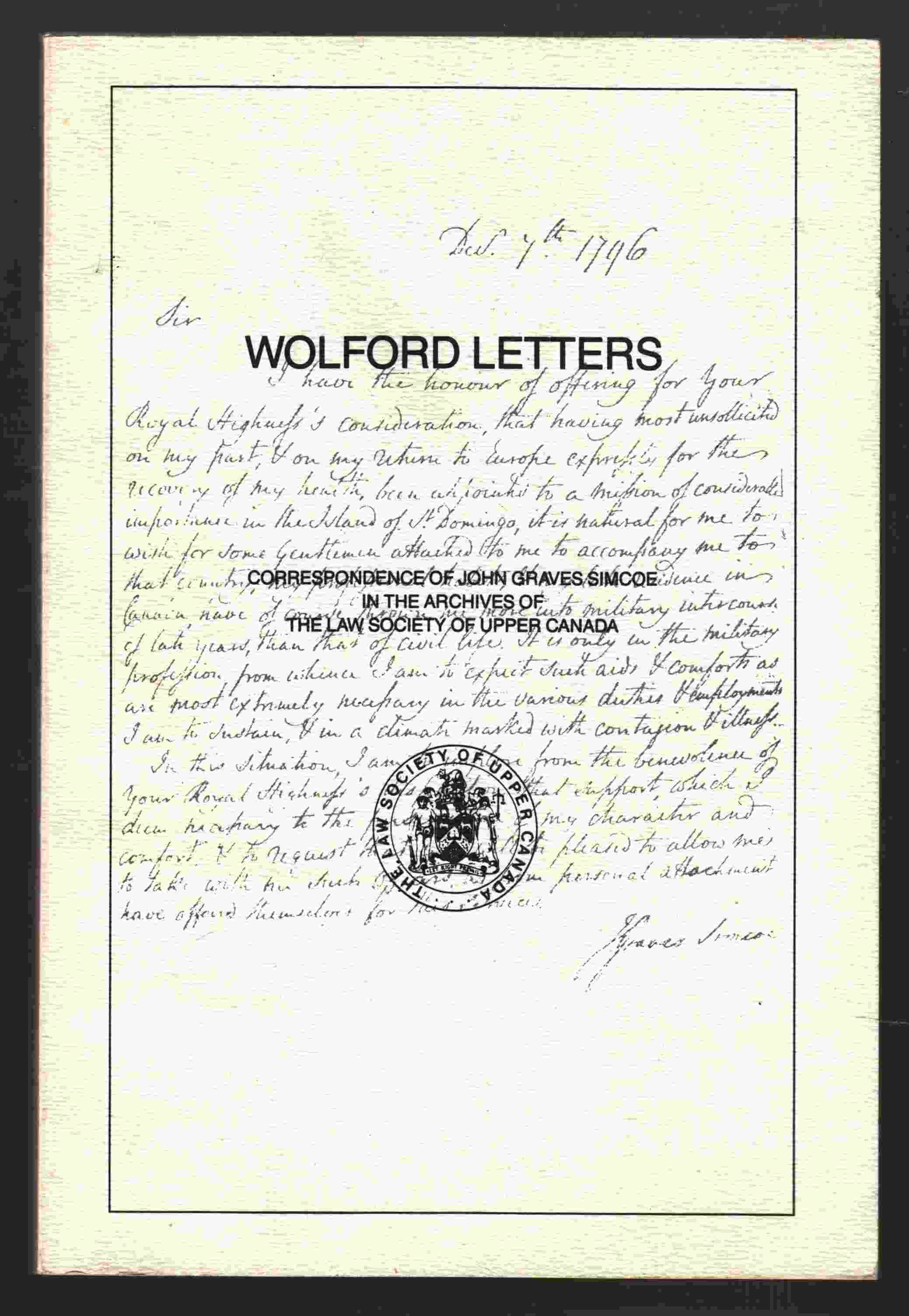 Image for Wolford Letters Correspondence of John Graves Simcoe in the Archives of the Law Society of Upper Canada