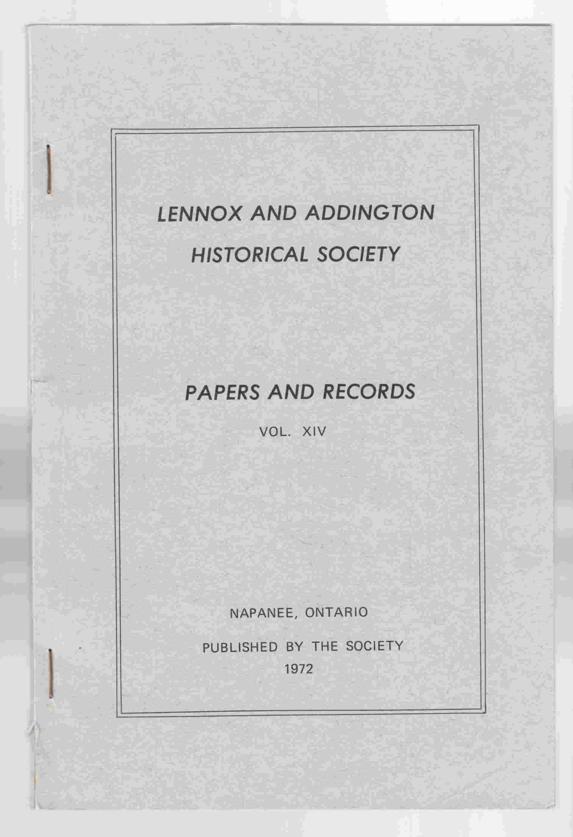 Image for Lennox and Addington Historical Society Papers and Records Vol. XIV