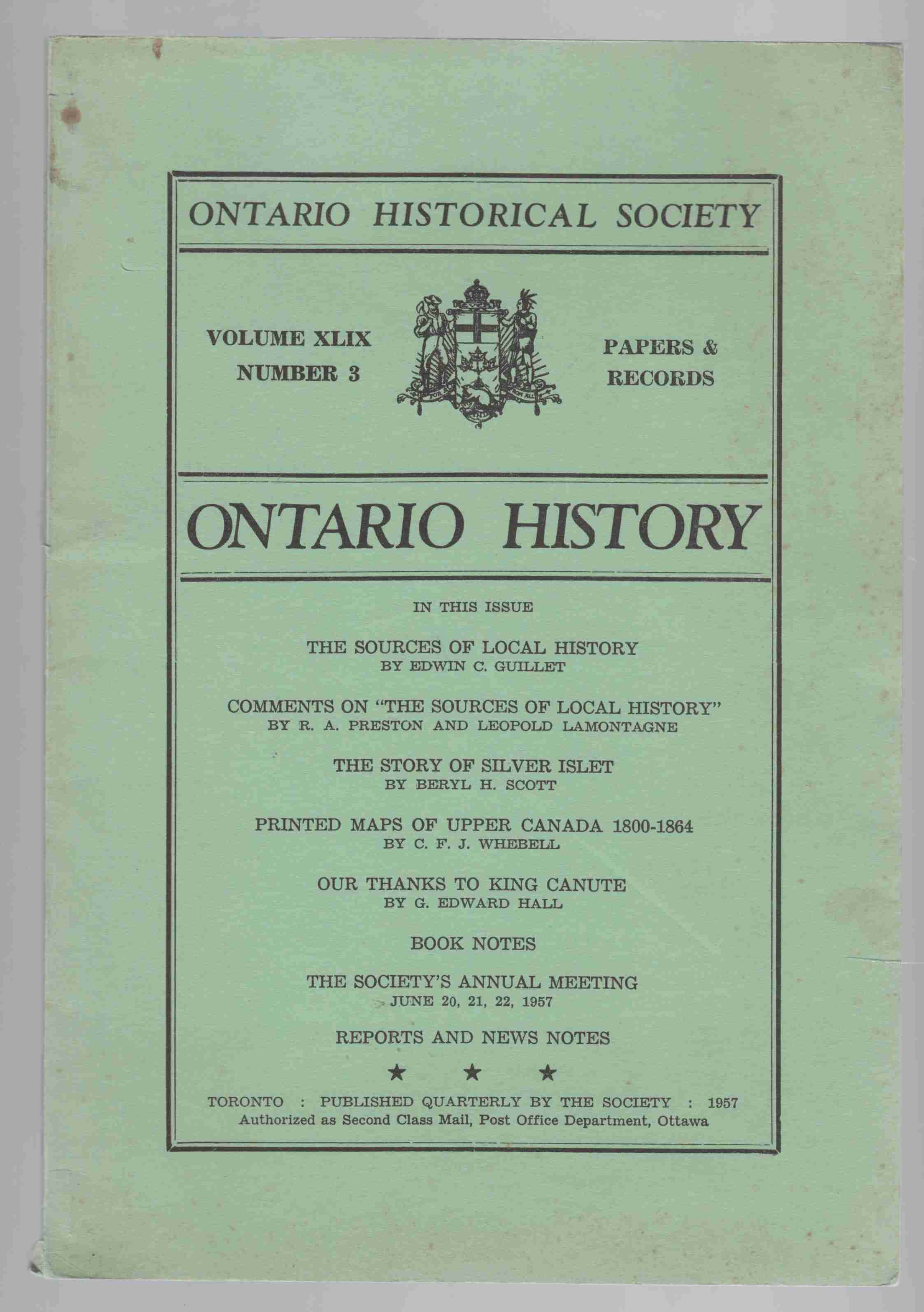 Image for Ontario History Volume XLIX Number 3