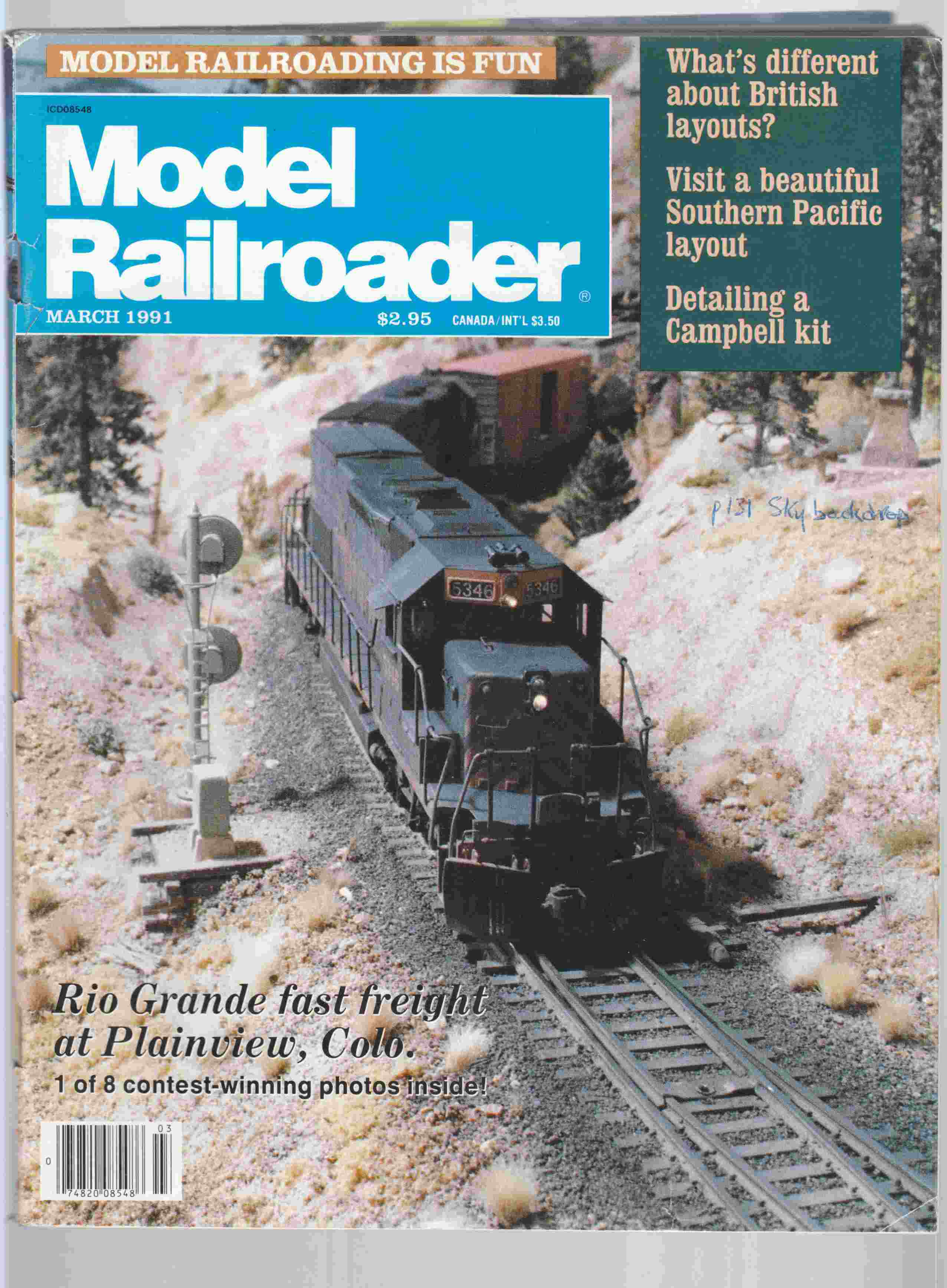 Image for Model Railroader March 1991 Volume 58 Number 3
